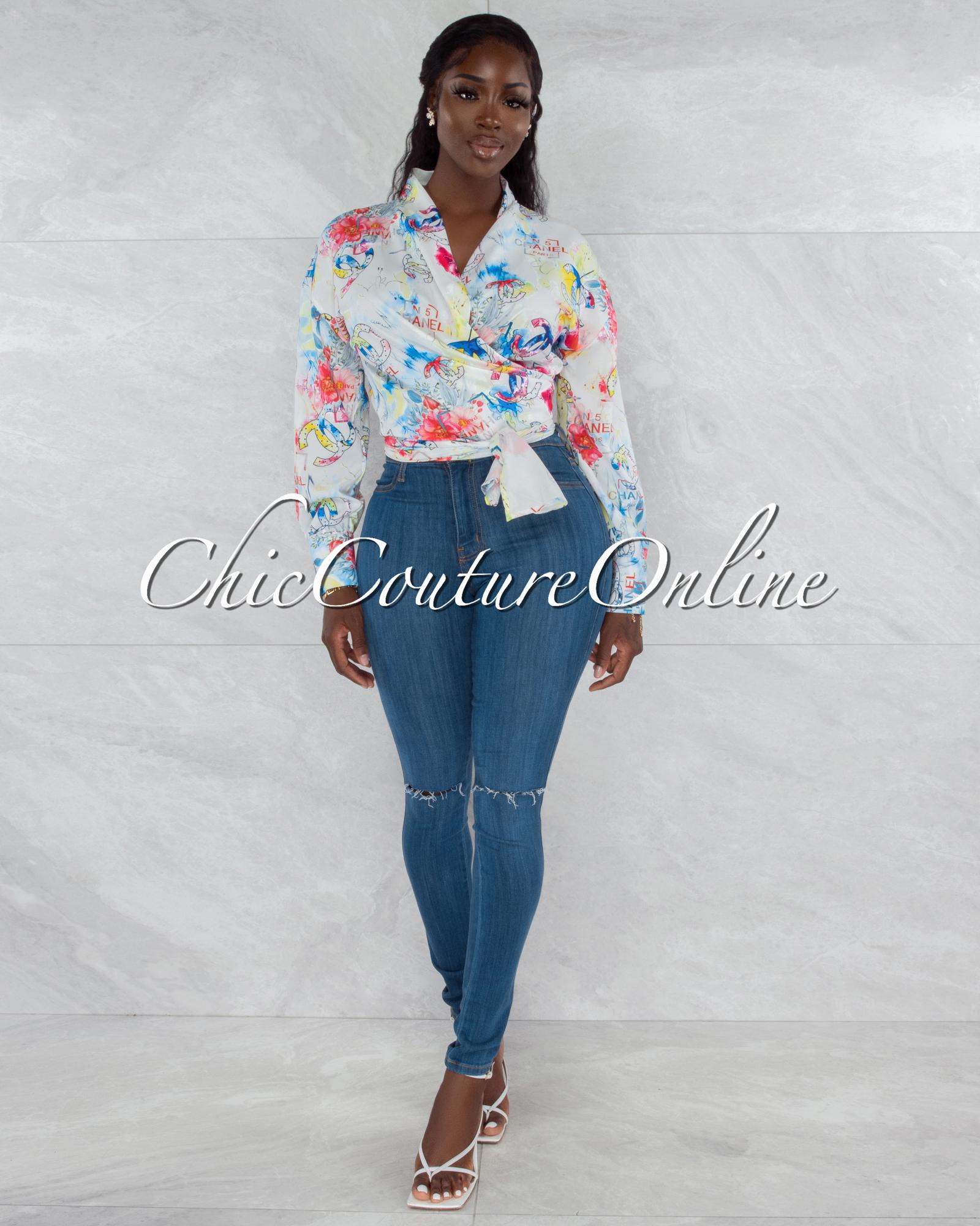 Santana White Multi-Color Print Front Tie Blouse