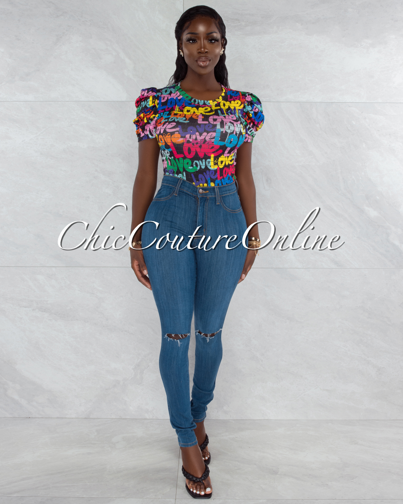 Harsha Black Multi-Color Love Graffiti Print Bodysuit