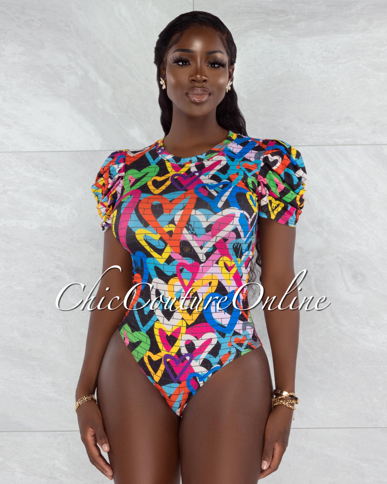 Jeton Black Multi-Color Heart Graffiti Print Bodysuit