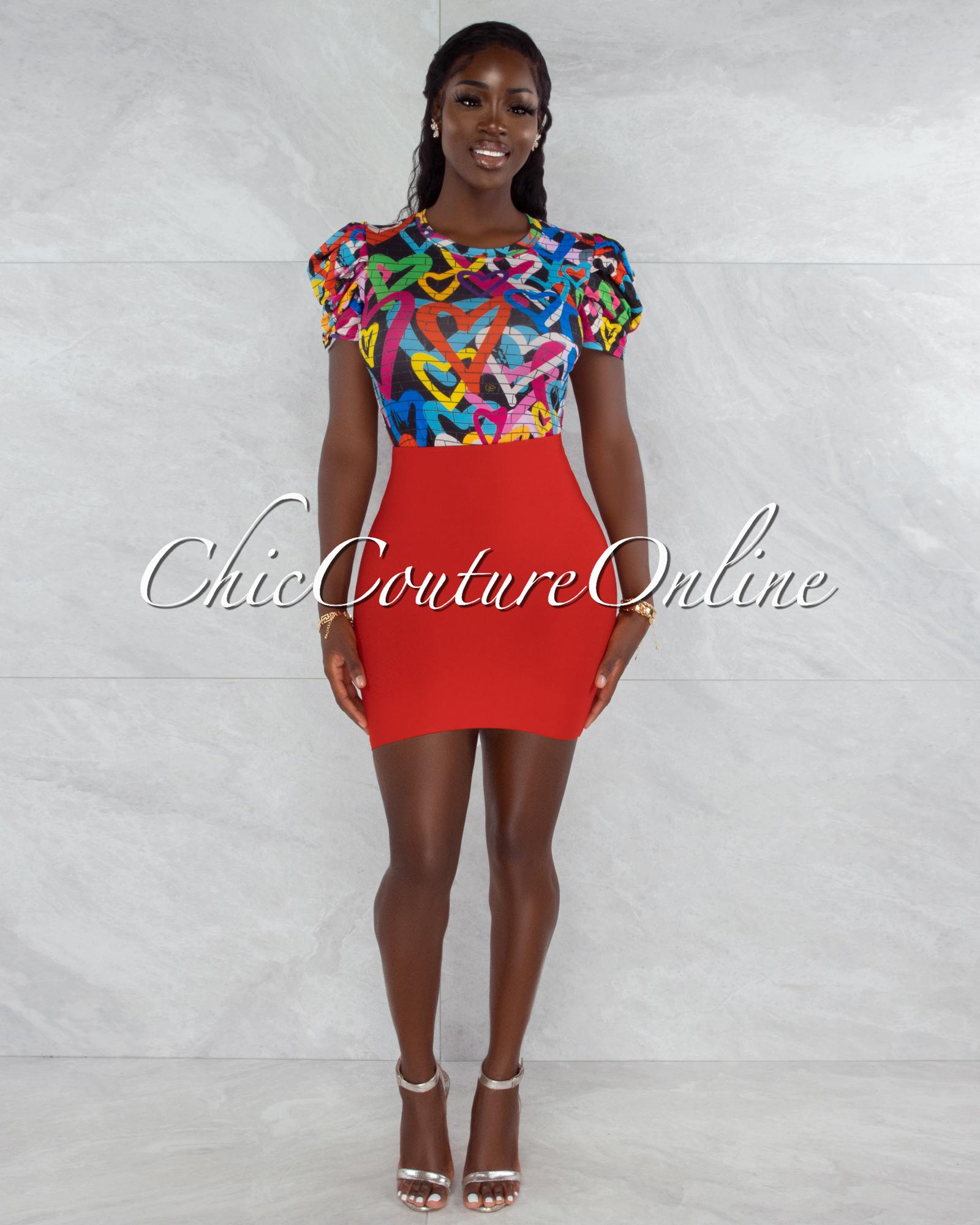 Darence Red Body-Con Bandage Mini Skirt