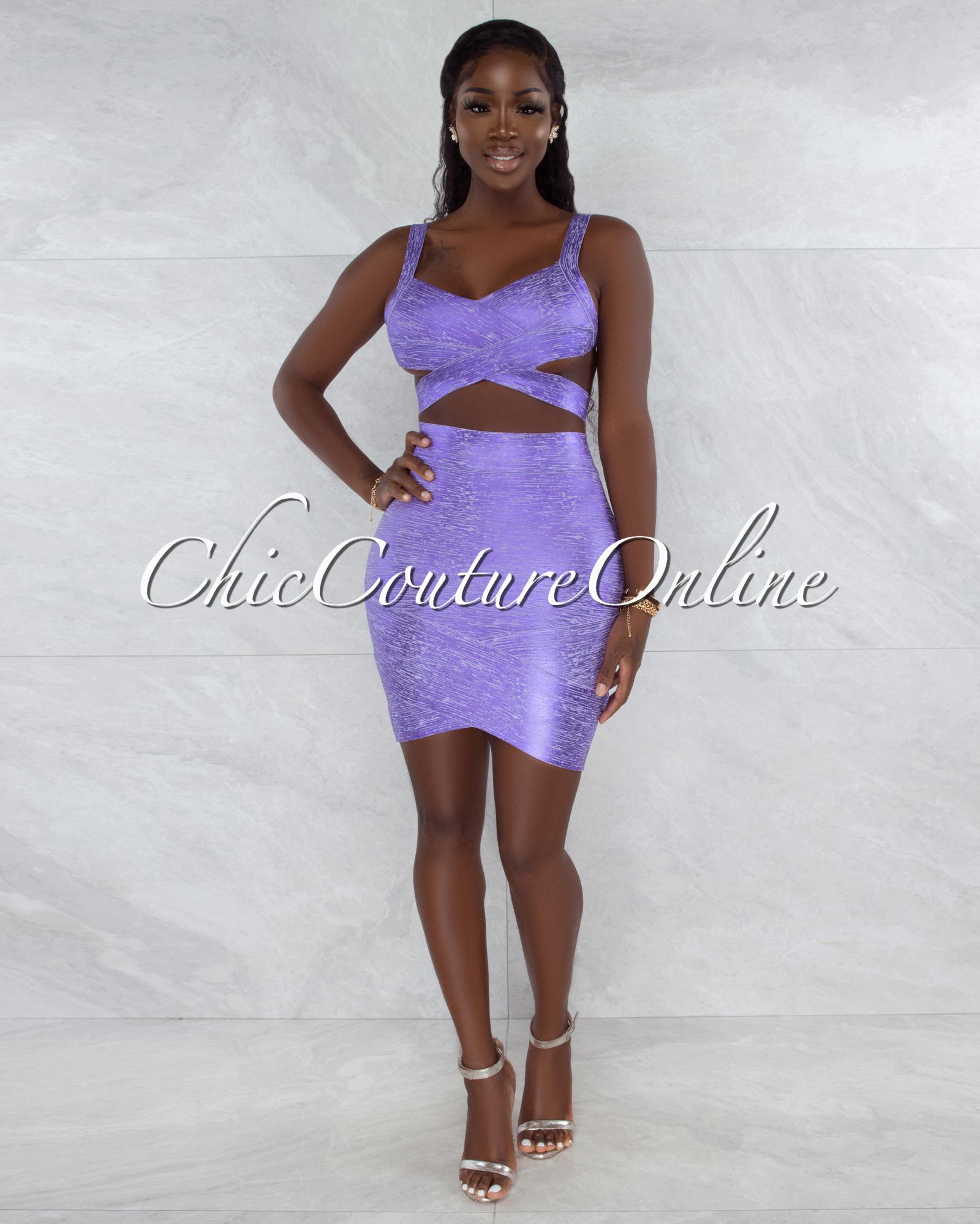 Chica Lavender Foil Bandage Two Piece Set