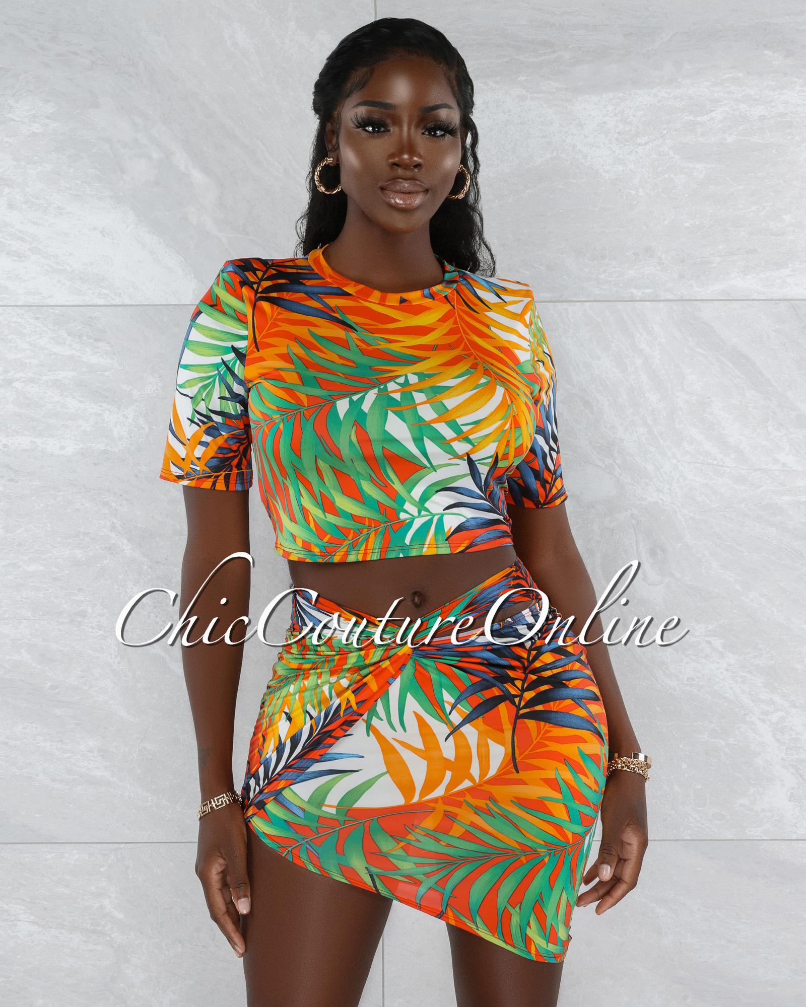 Zenia Green Red Palm Print Two Piece Skirt Set