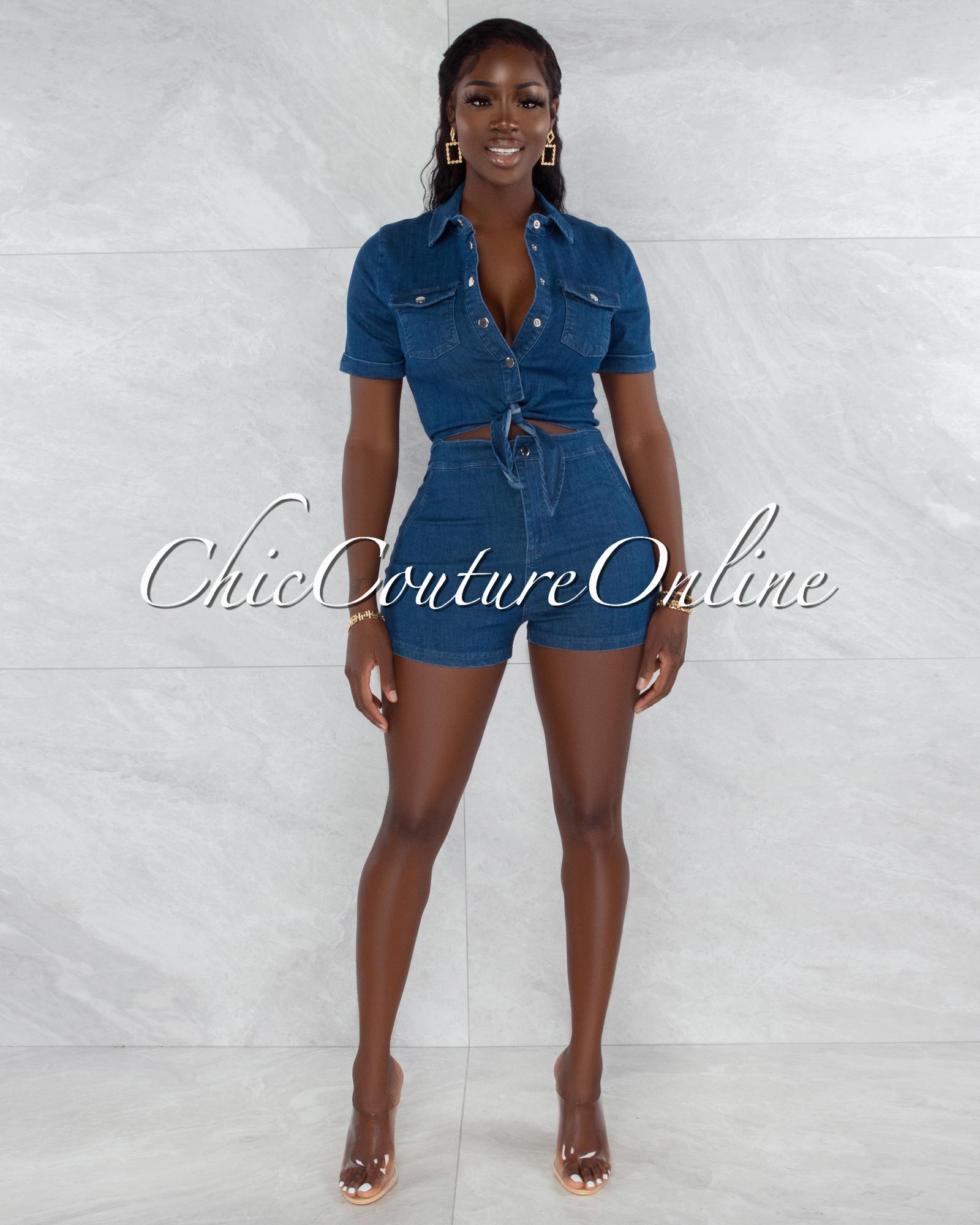 Cher Dark Blue Denim Front Tie Silver Snaps Romper