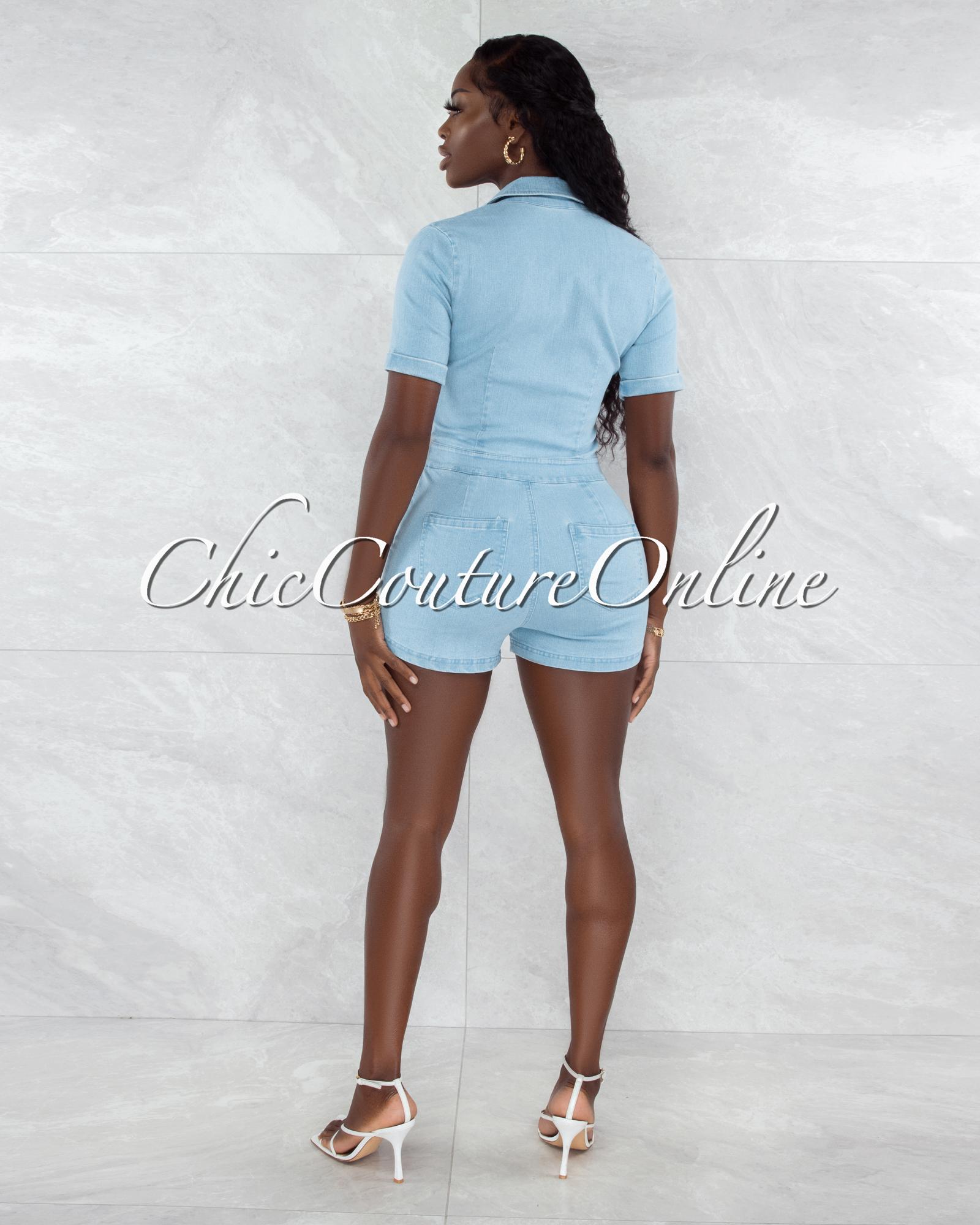 Cher Light Blue Denim Front Tie Silver Snaps Romper