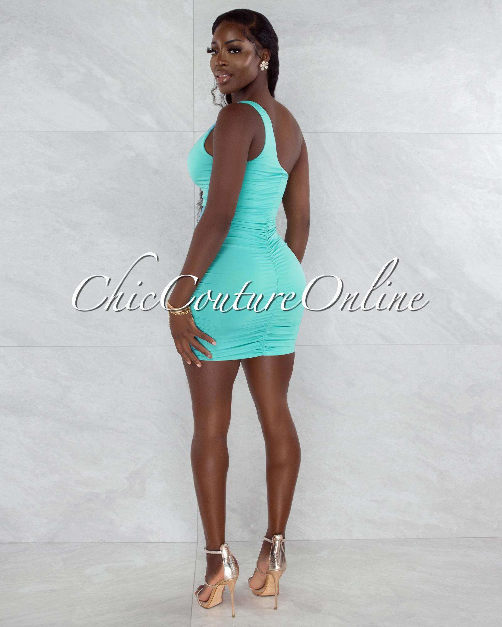 Melora Mint Ruched Sides Single Shoulder Mini Dress
