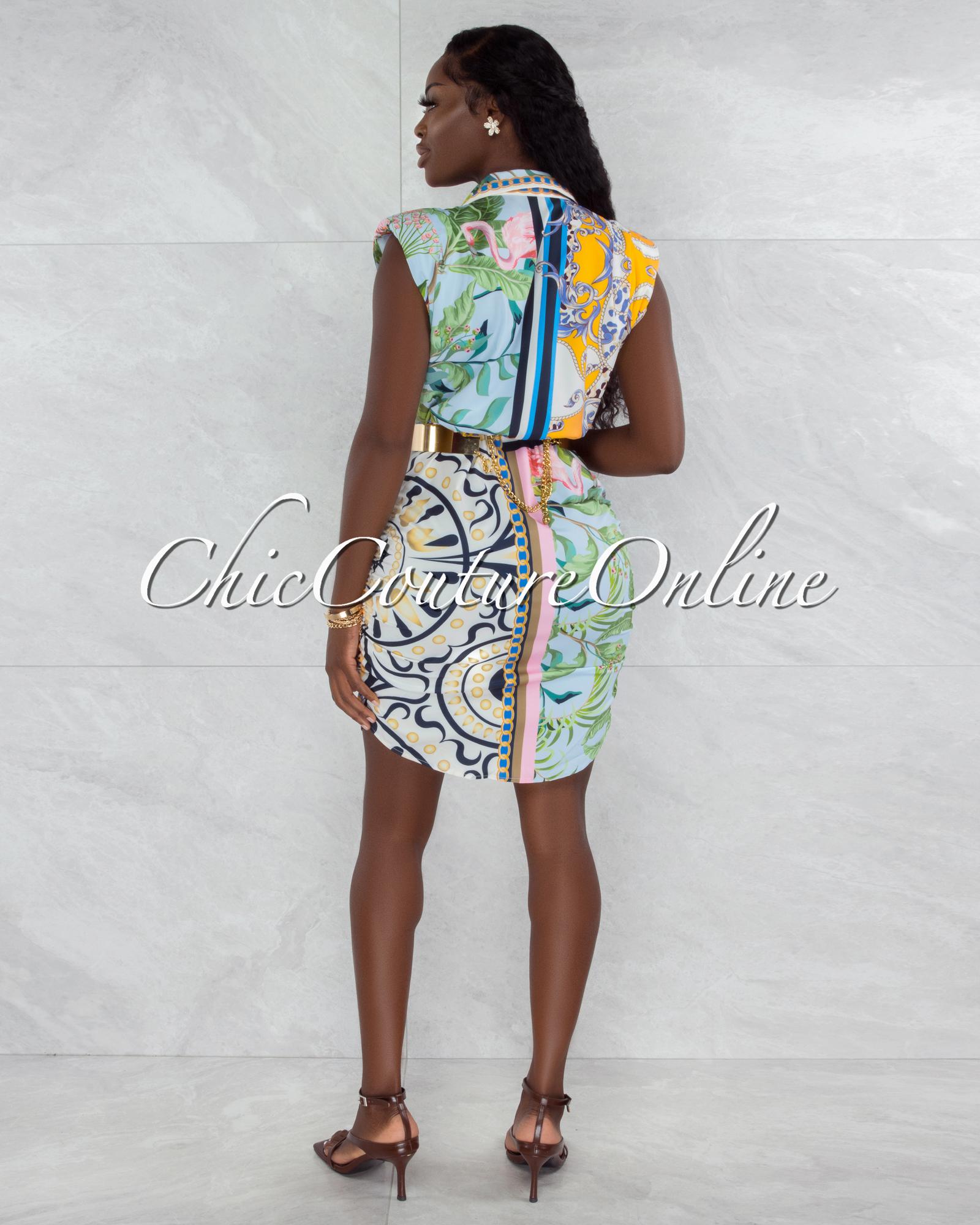 Taniel Ivory Multi-Color Print Buttons Drape Shirt Dress