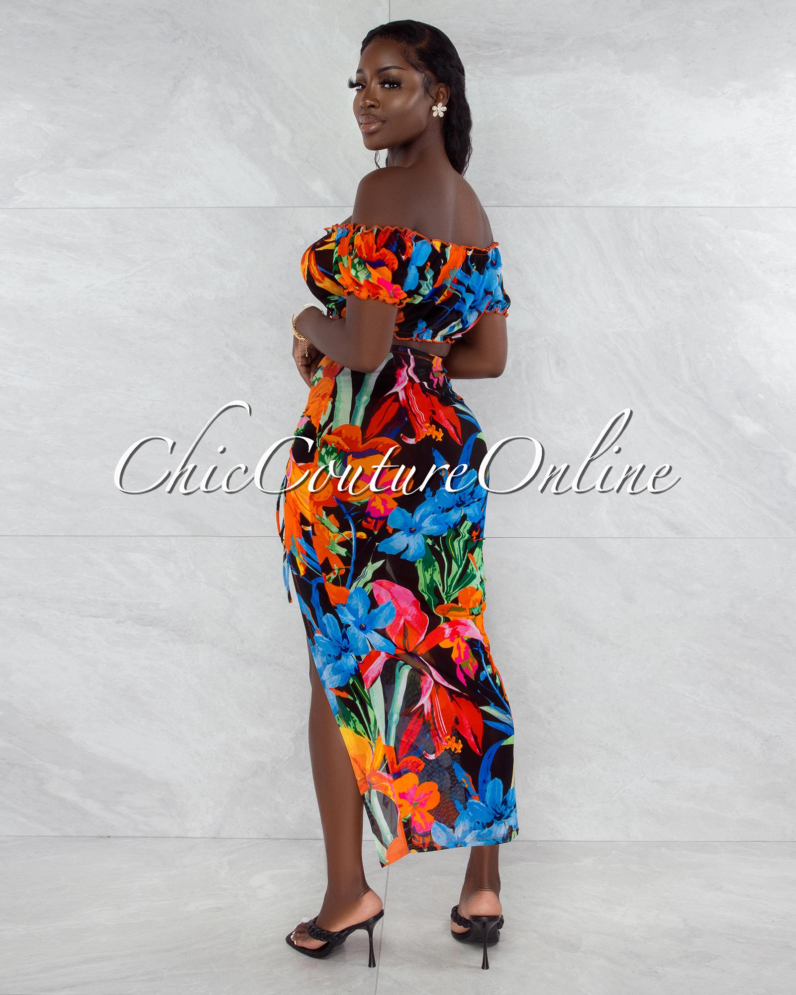Waylon Black Orange Blue Floral Mesh Cover Up Set
