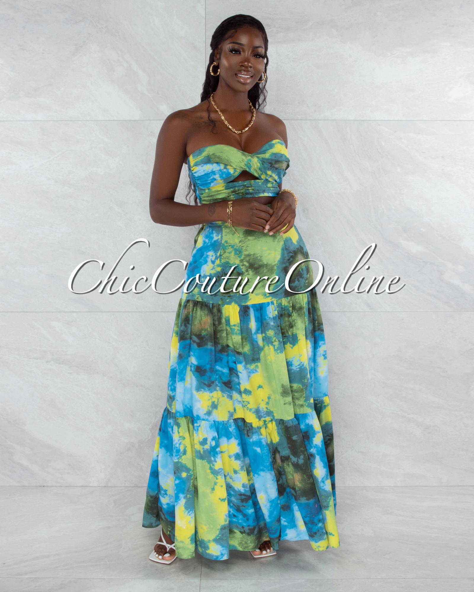 Utah Green Blue Print Print Crop Top & Maxi Skirt Set