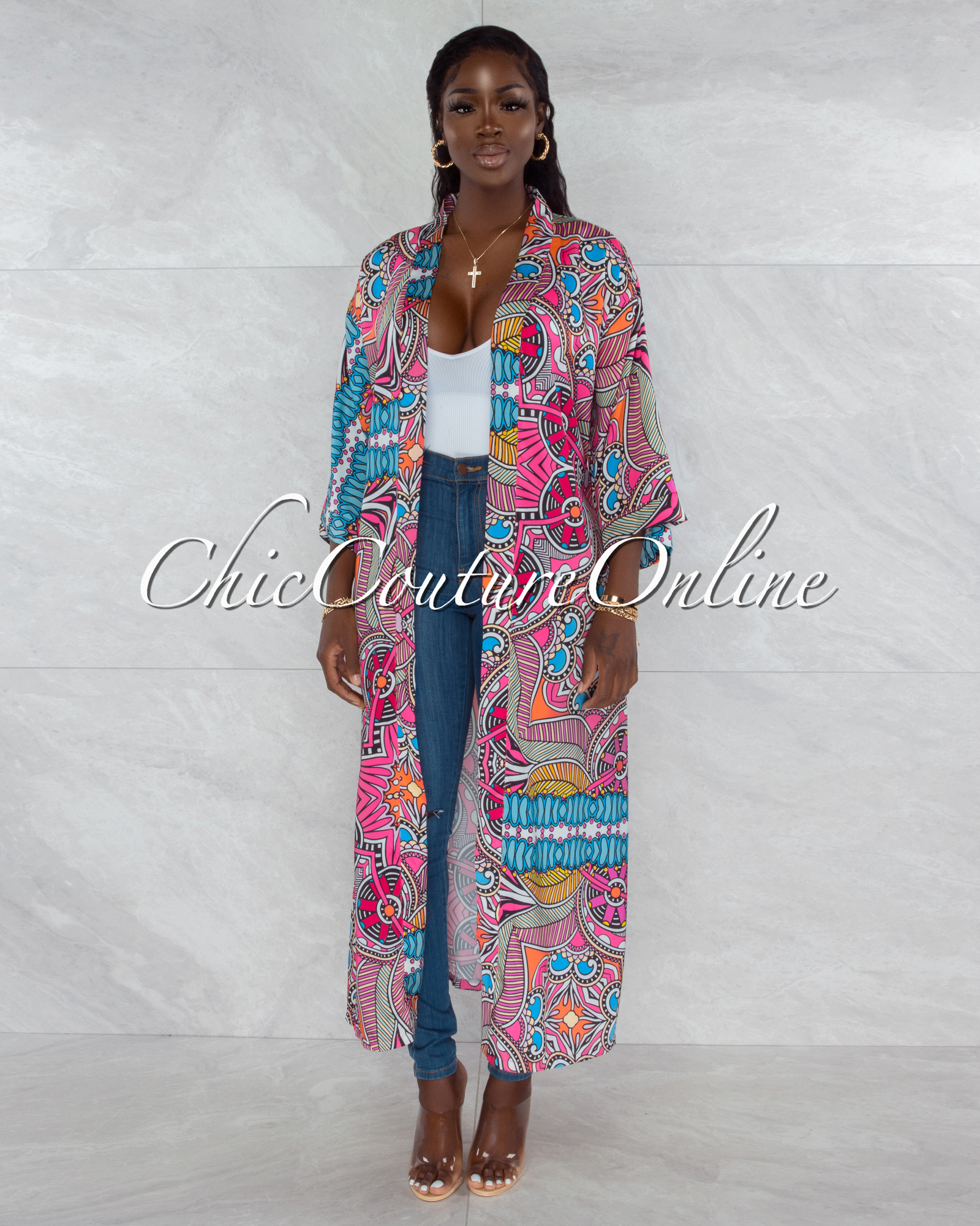 Mercy Pink Black Multi-Color Print Satin Luxe Duster
