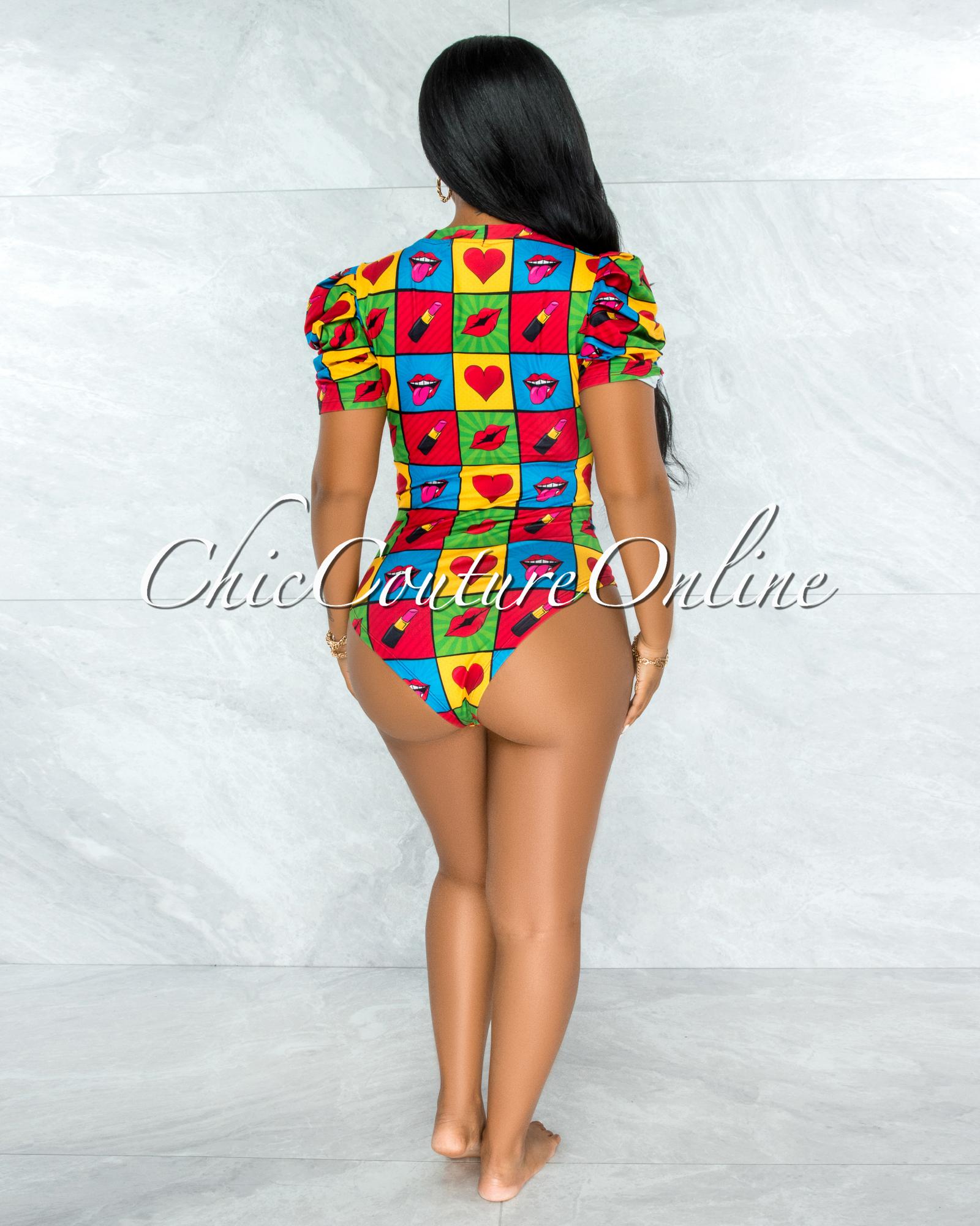 Merrick Black Multi-Color Lips Print Bodysuit