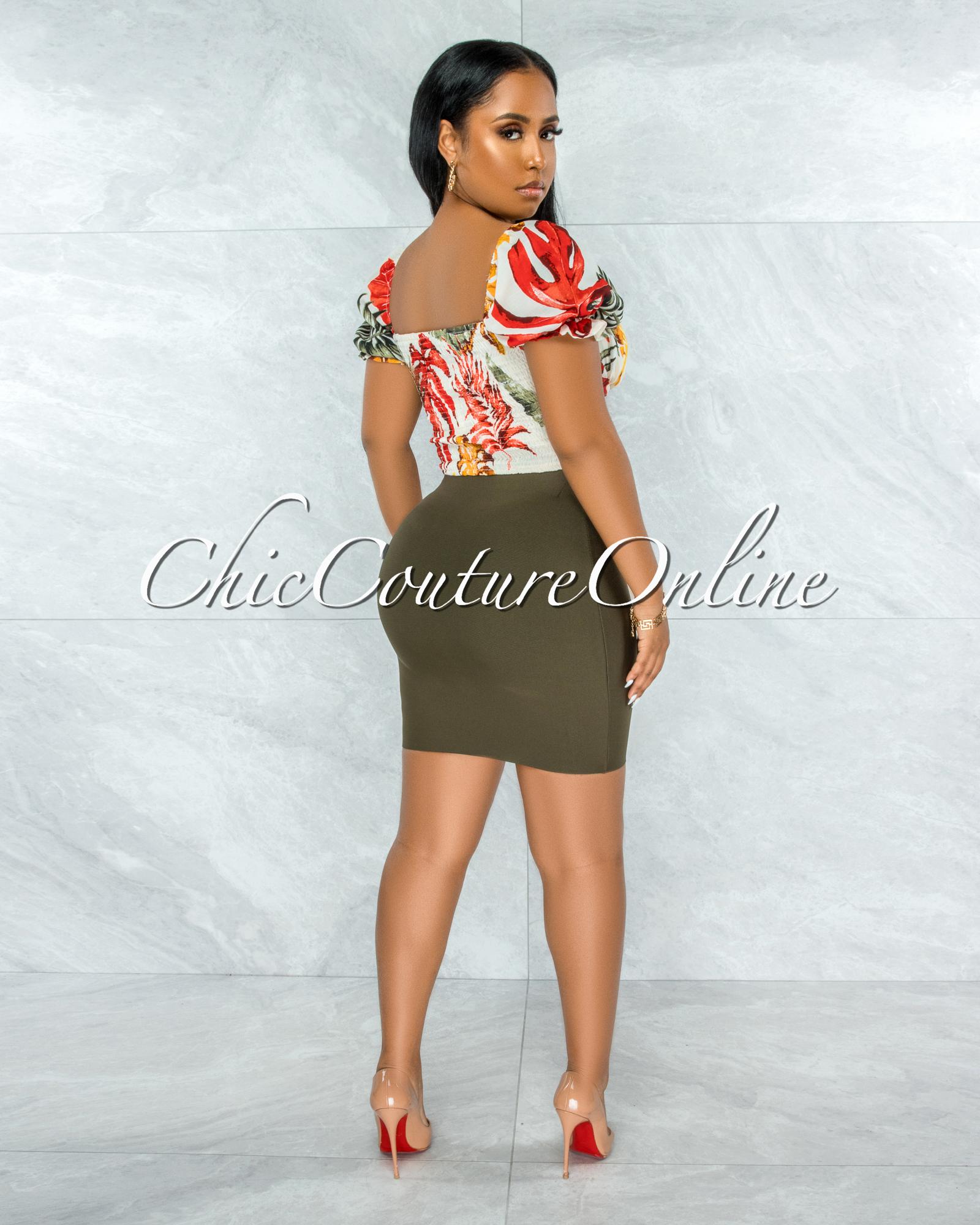 Darence Olive Body-Con Bandage Mini Skirt