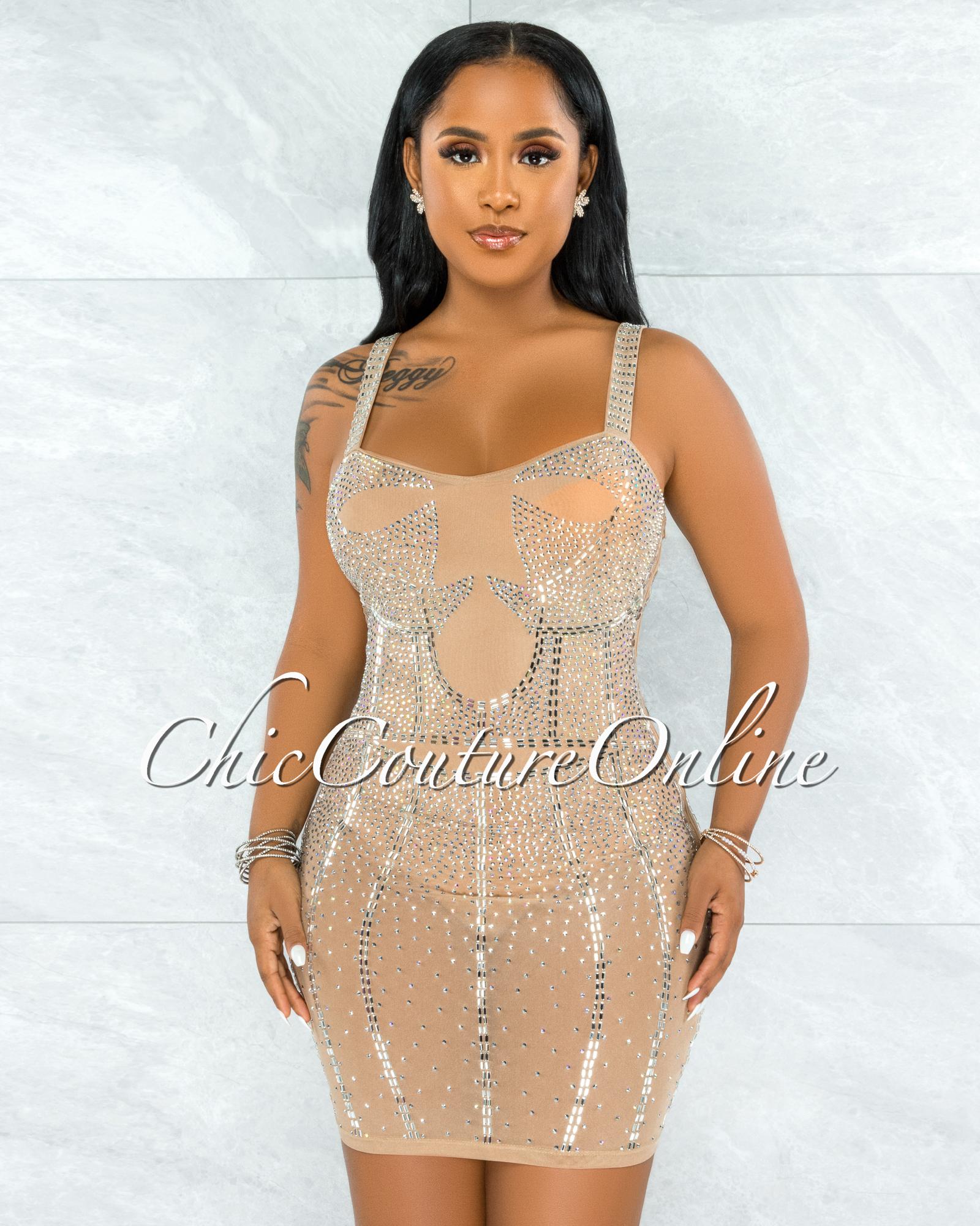 Pelicia Nude Silver Rhinestones Mesh Bodysuit Dress