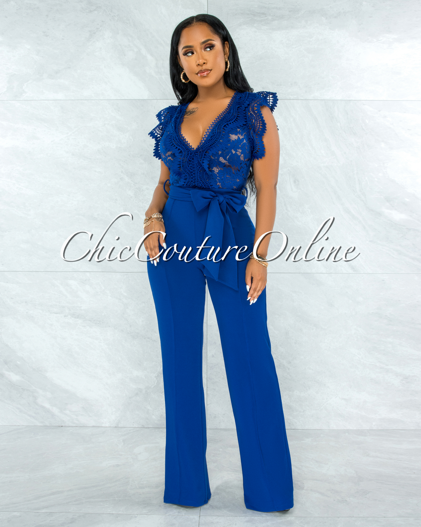 Pamba Royal Blue Crochet Lace See-Through Top Jumpsuit