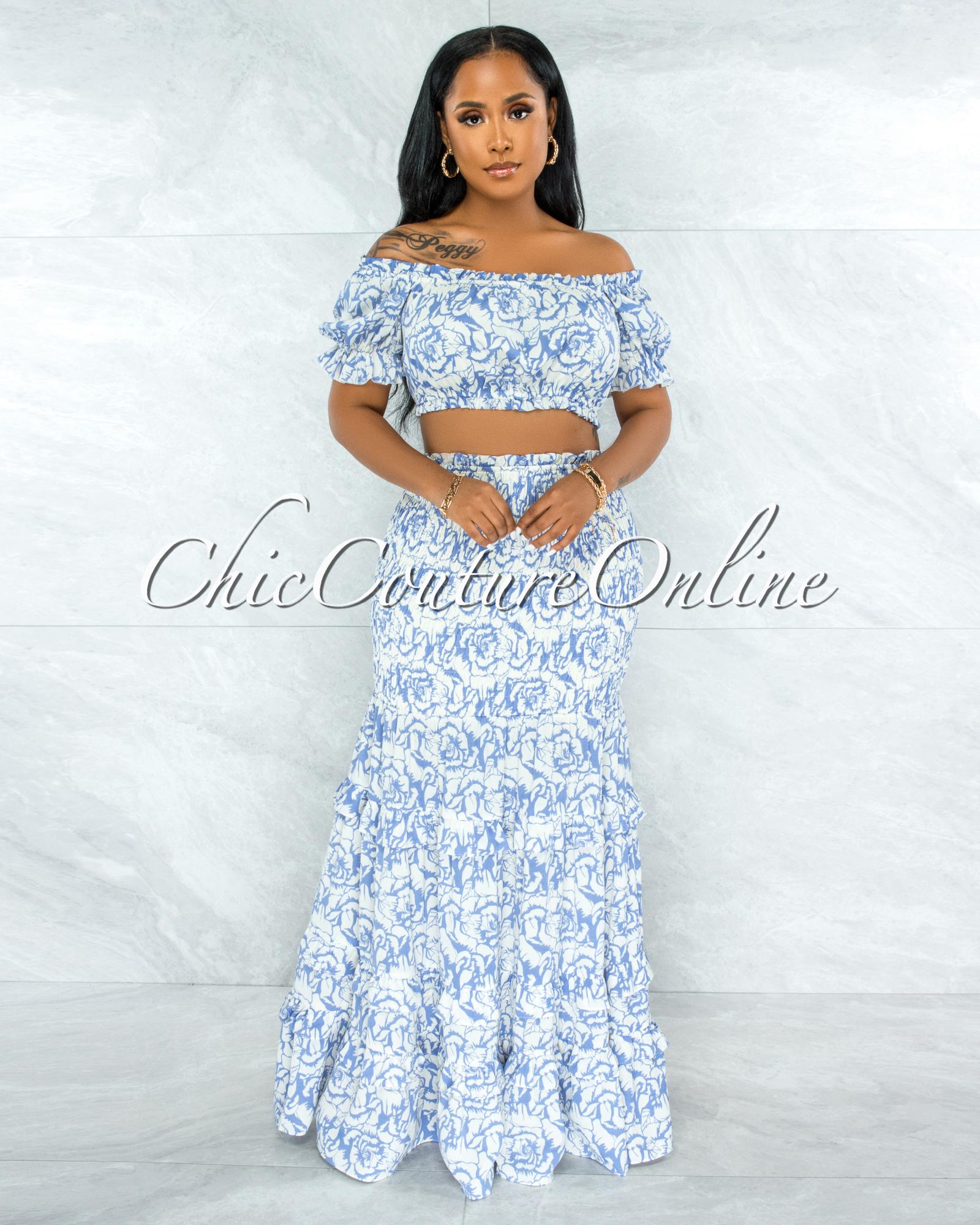 Pitney Periwinkle Blue Floral Print Top & Skirt Smocked Set