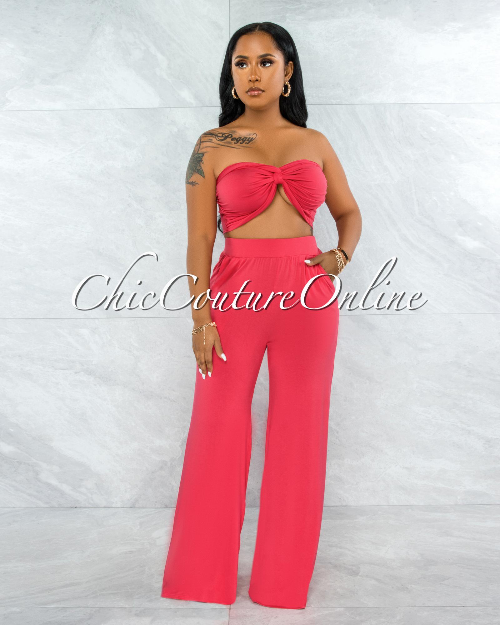 Wilford Coral Pink Front Tie Top & Wide Legs Pants Set