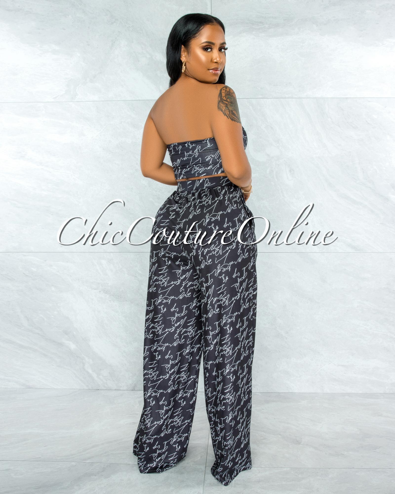 Yussell Black White Print Front Tie Top & Wide Legs Pants Set