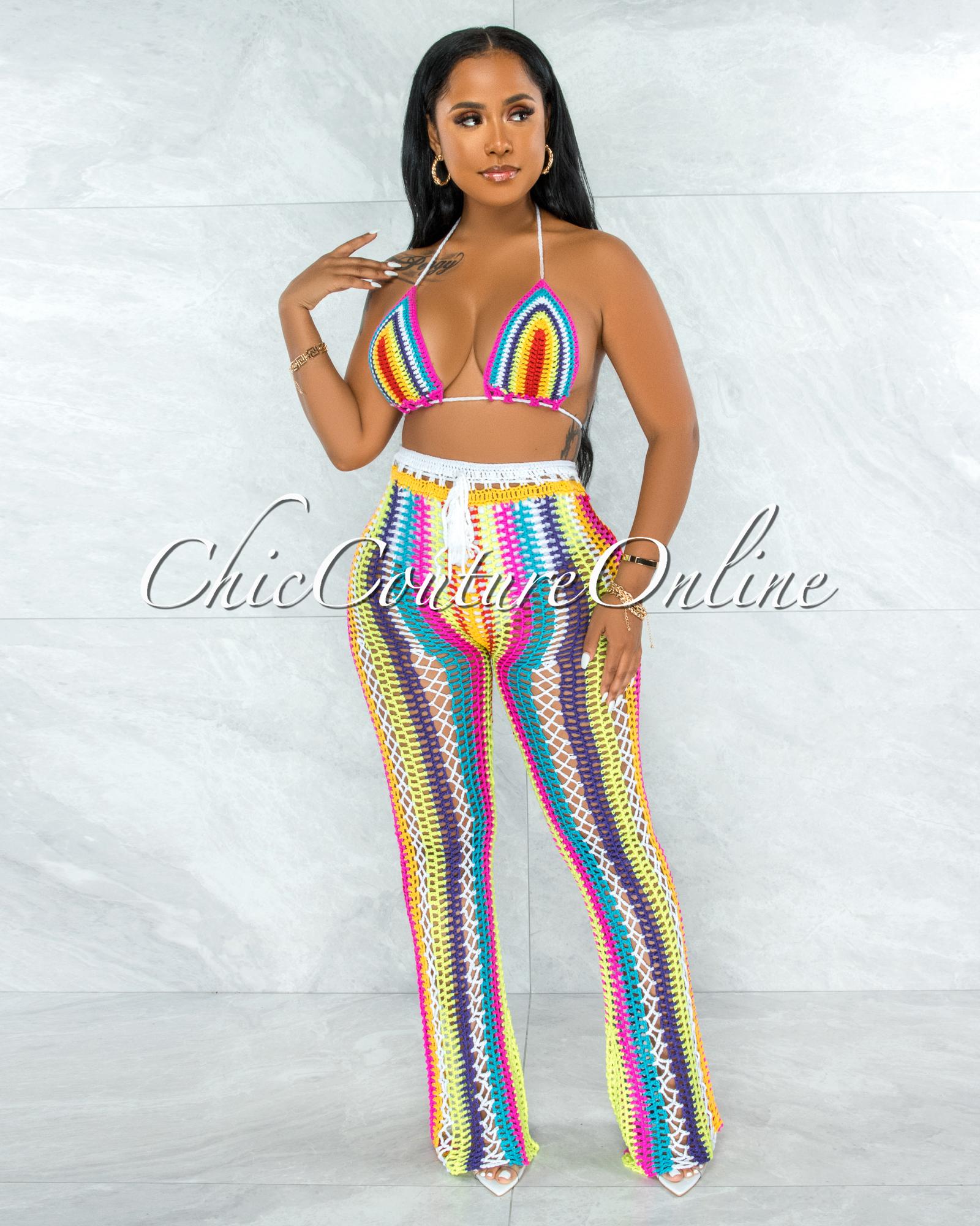 Tayton White Rainbow Crochet Cover-Up Two Piece Set