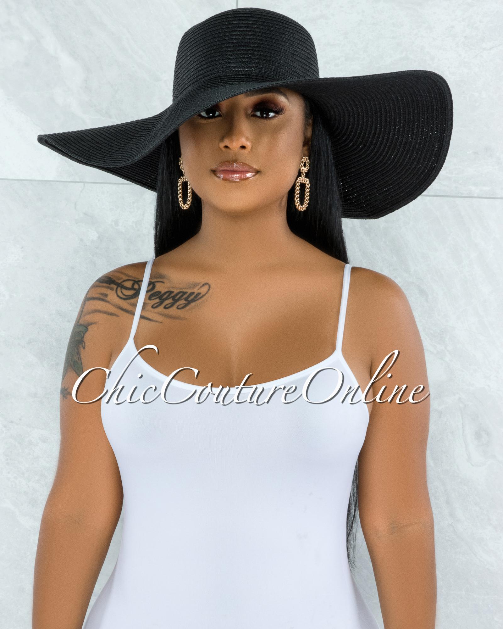 Odiva Black Oversized Brim Straw Floppy Hat