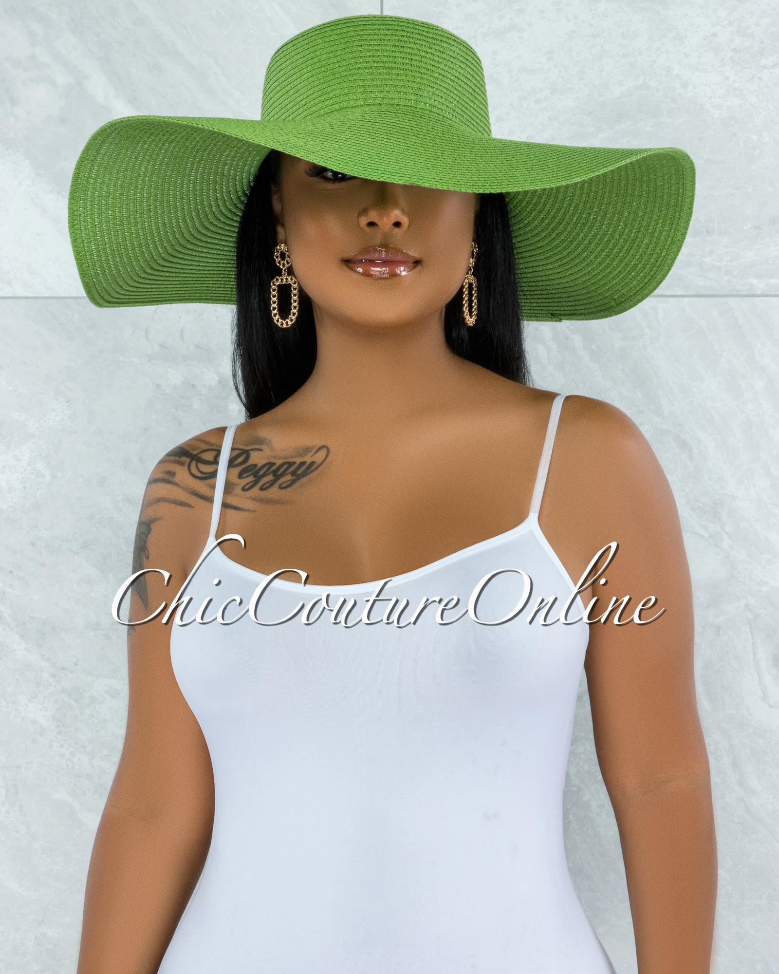 Odiva Green Oversized Brim Straw Floppy Hat