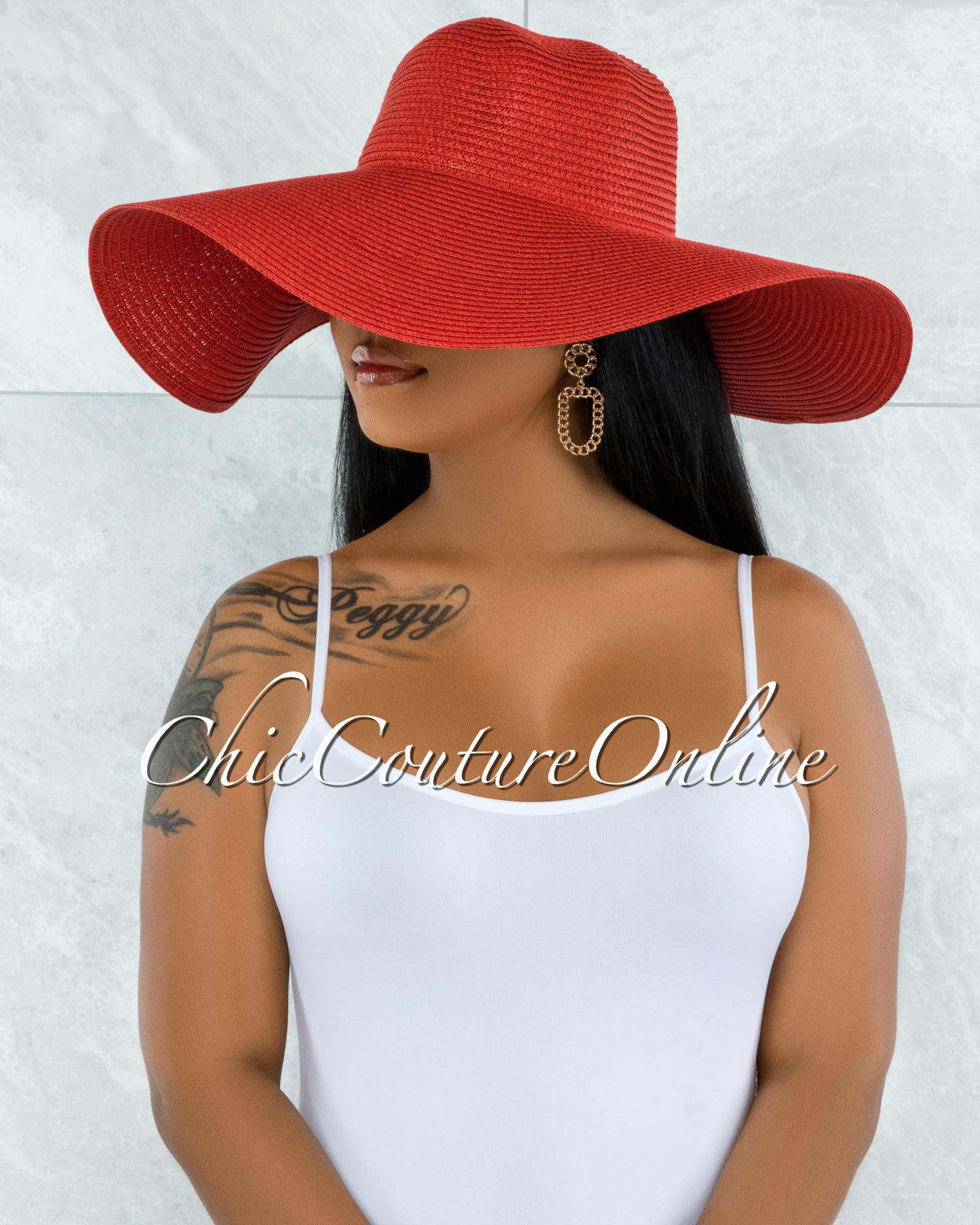 Odiva Red Oversized Brim Straw Floppy Hat