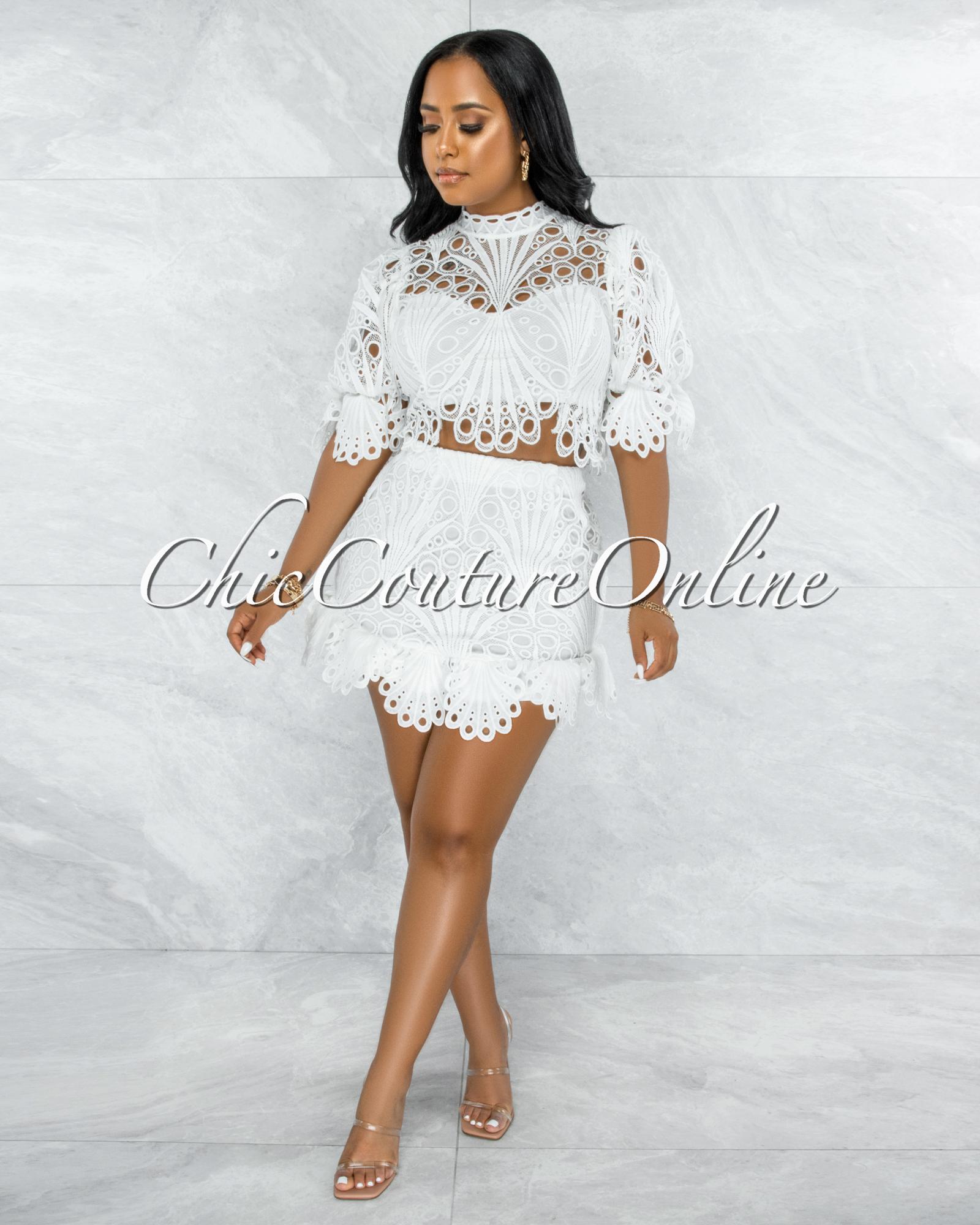 Tavaris Off-White Crochet Ruffle Top & Skirt Set