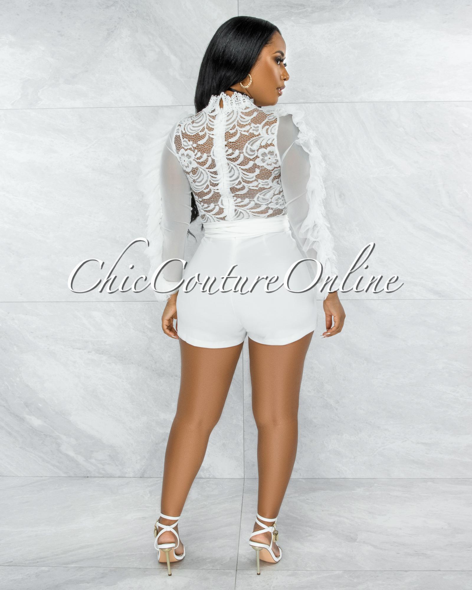 Kacela Off-White Lace Sheer Top Ruffle Sleeves Romper
