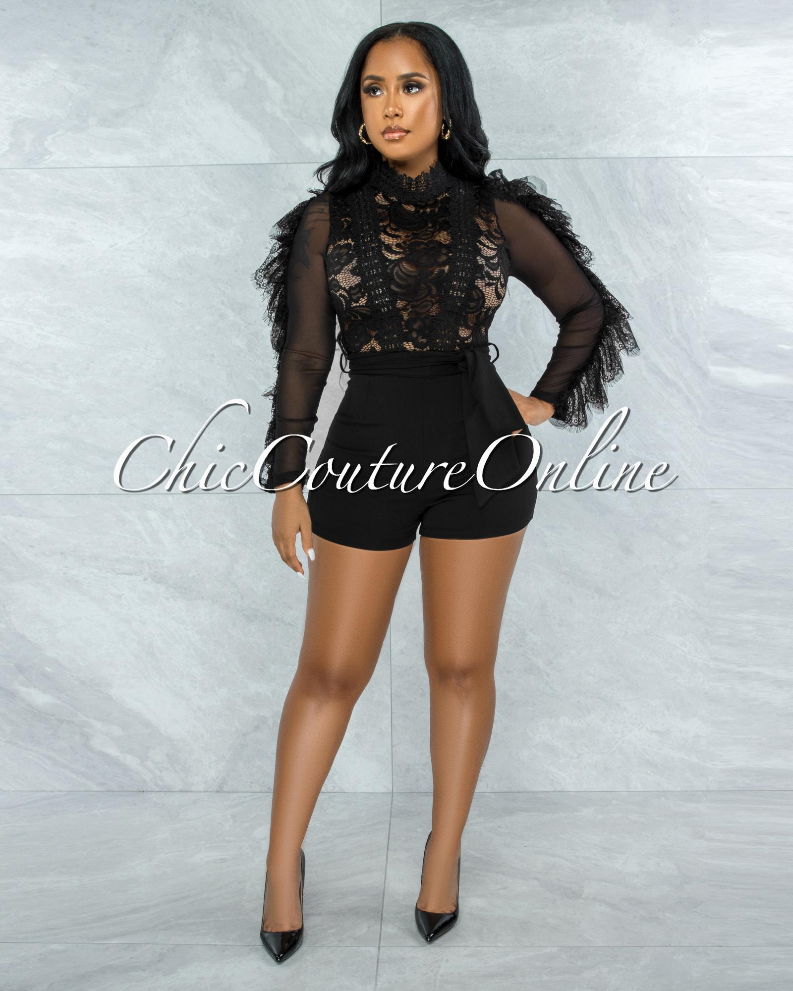 Kacela Black Lace Sheer Top Ruffle Sleeves Romper