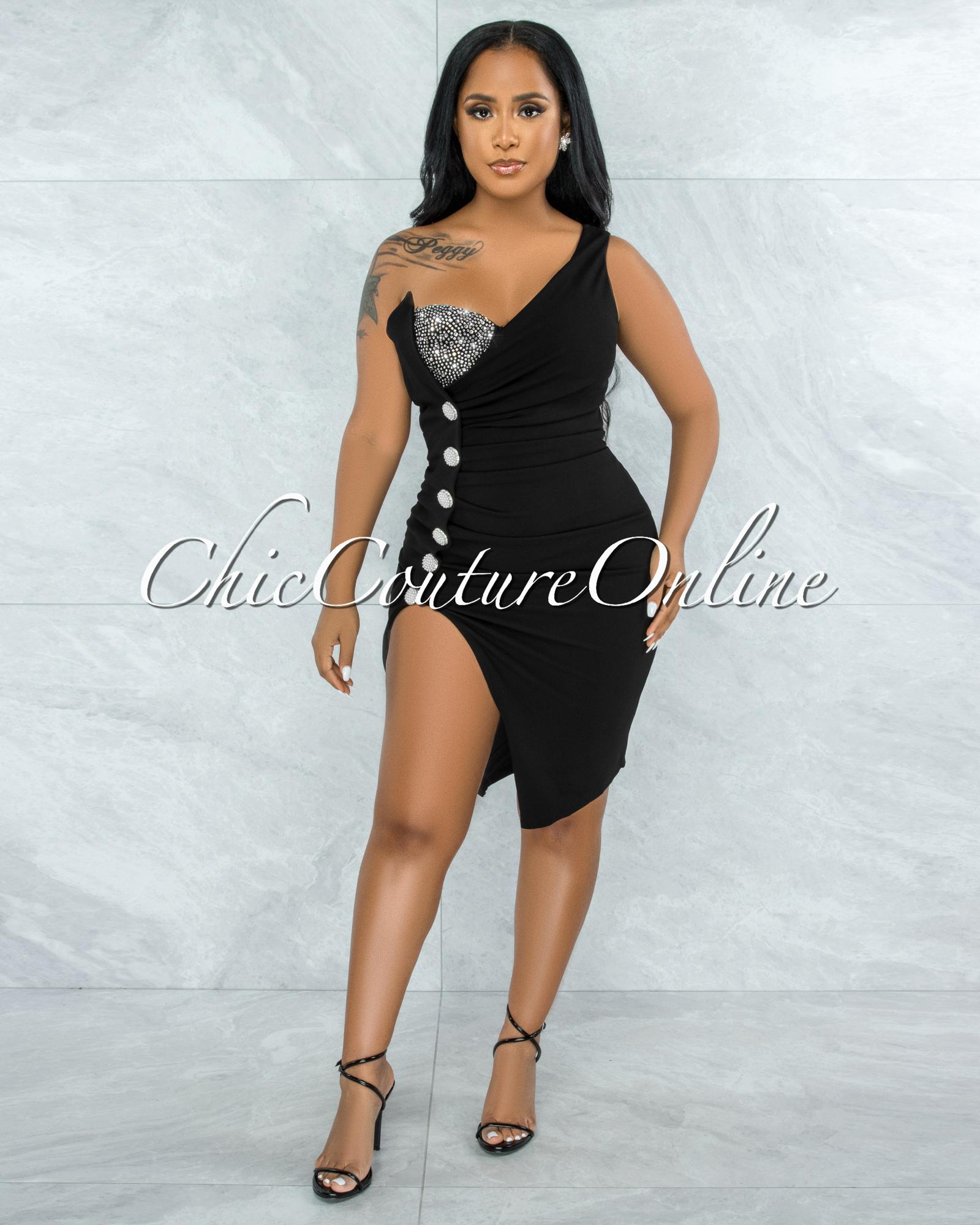 Menefer Black Rhinestones Under Top Illusion Midi Dress