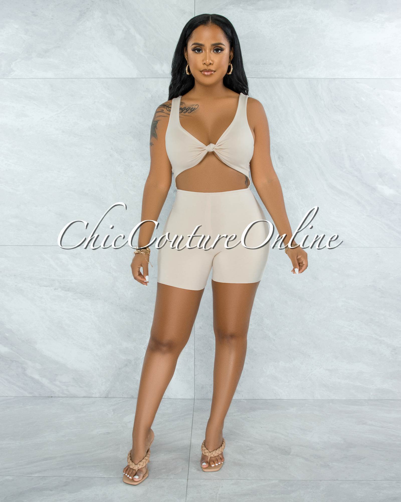 Leilani Cream Front Knot Cut-Out Double Lined Romper