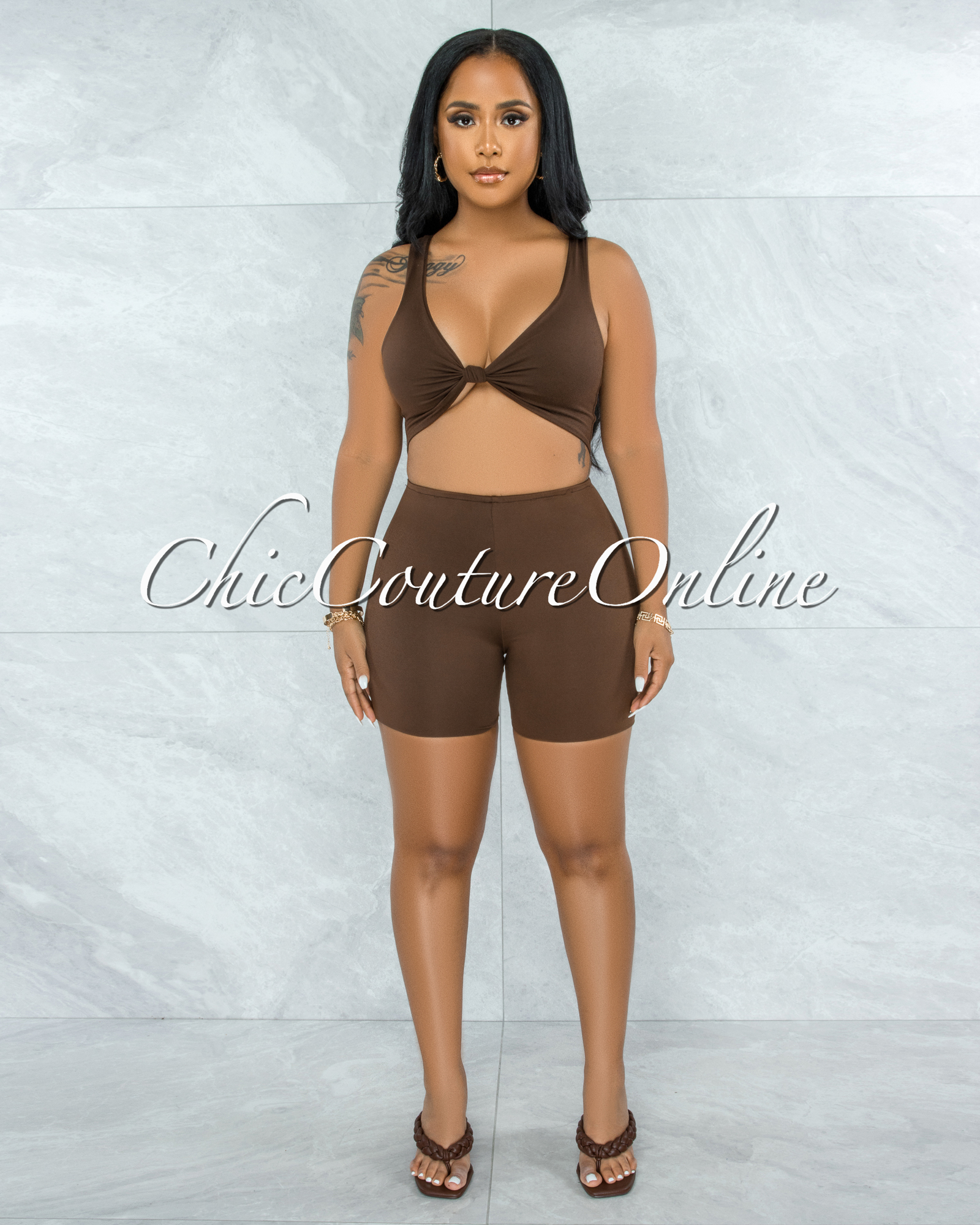 Leilani Brown Front Knot Cut-Out Double Lined Romper