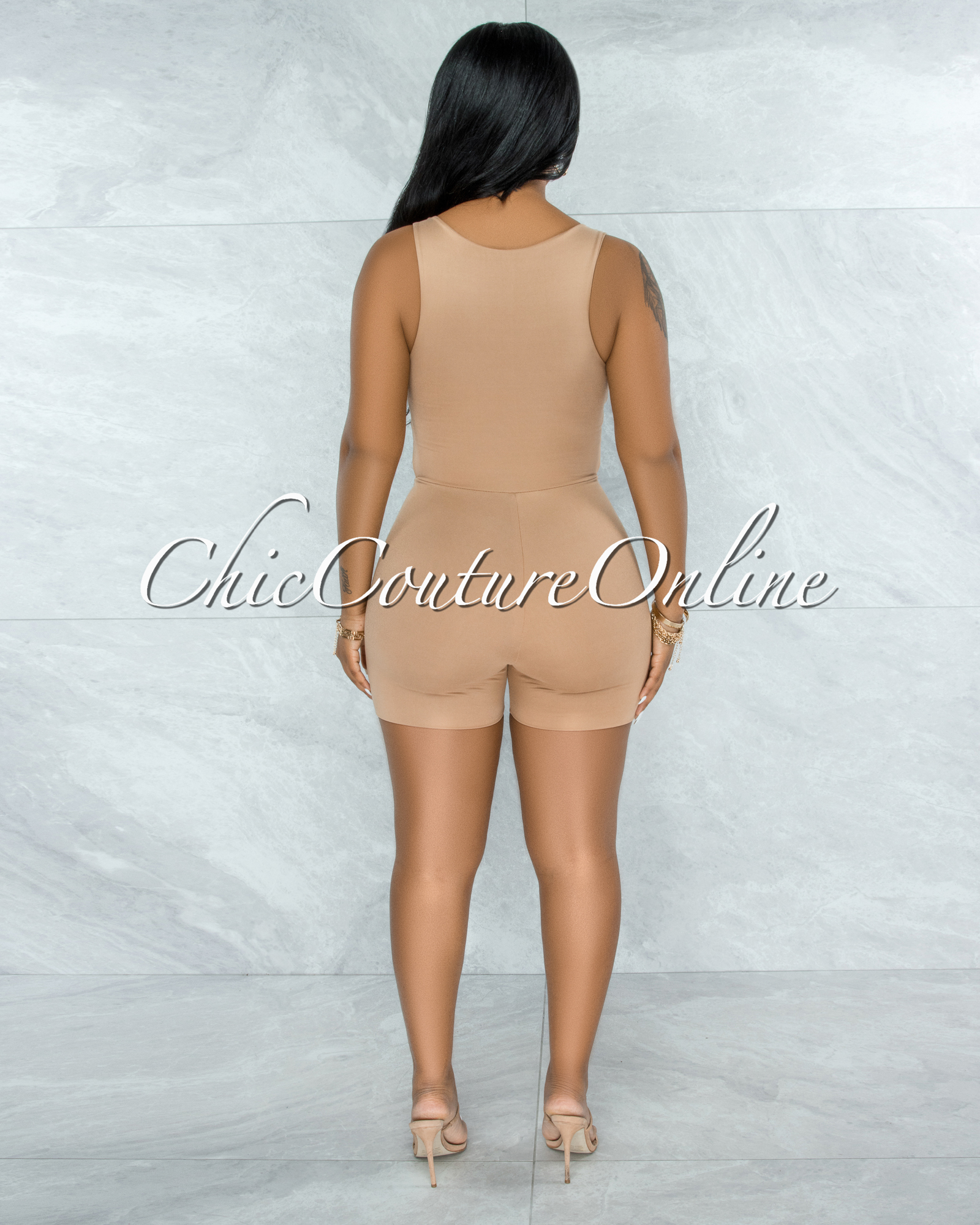 Leilani Nude Front Knot Cut-Out Double Lined Romper