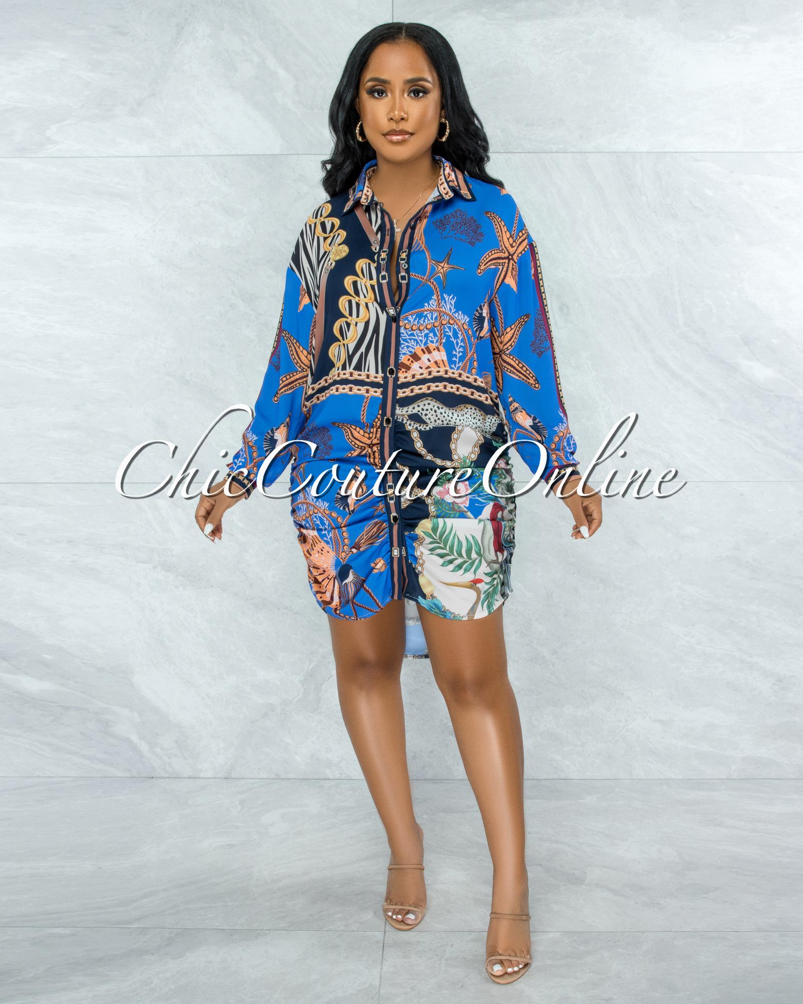 Kendis Blue Multi-Color Print Buttons Drape Shirt Dress