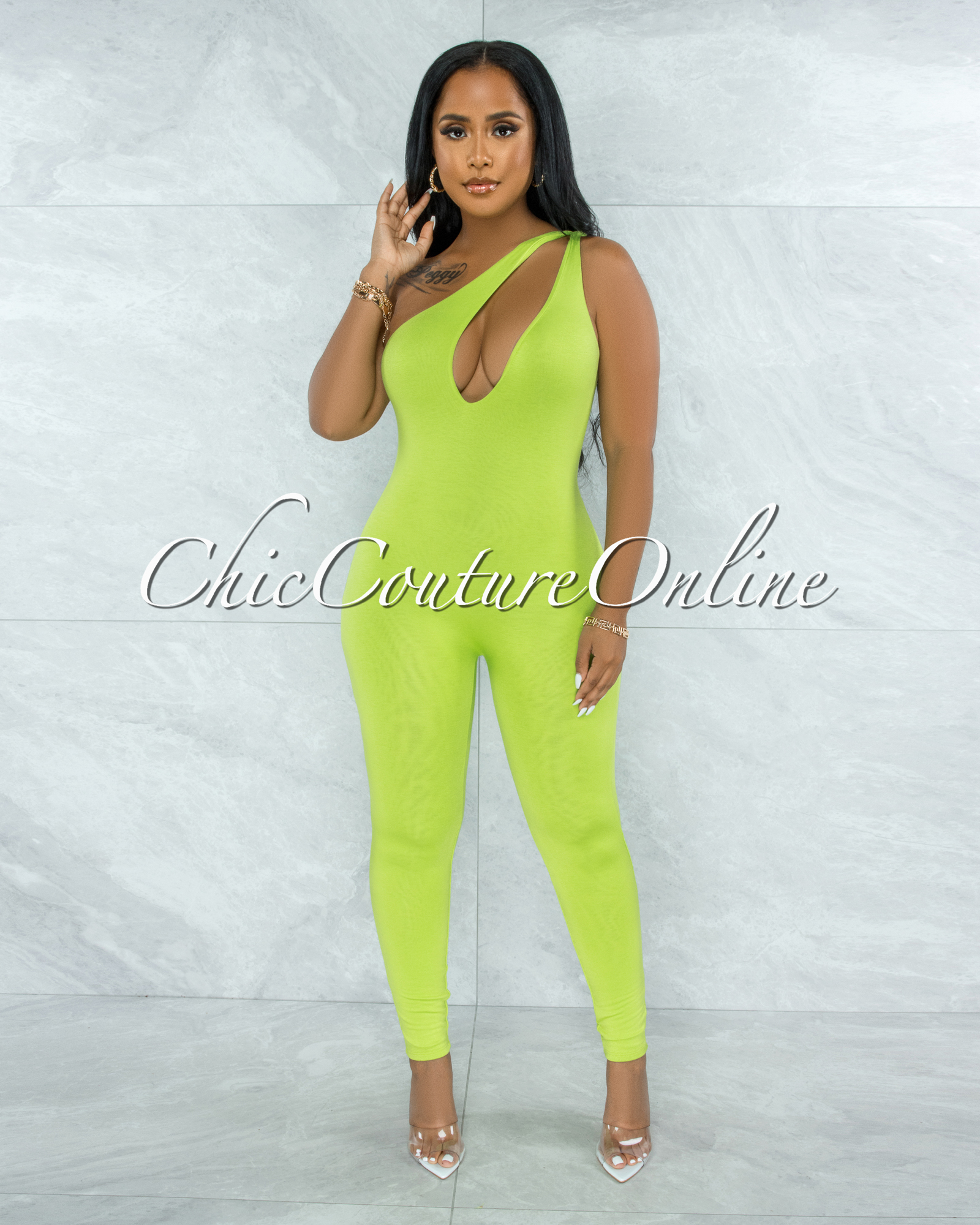 Nelson Lime Green Key-Hole Neckline Double Lined Jumpsuit