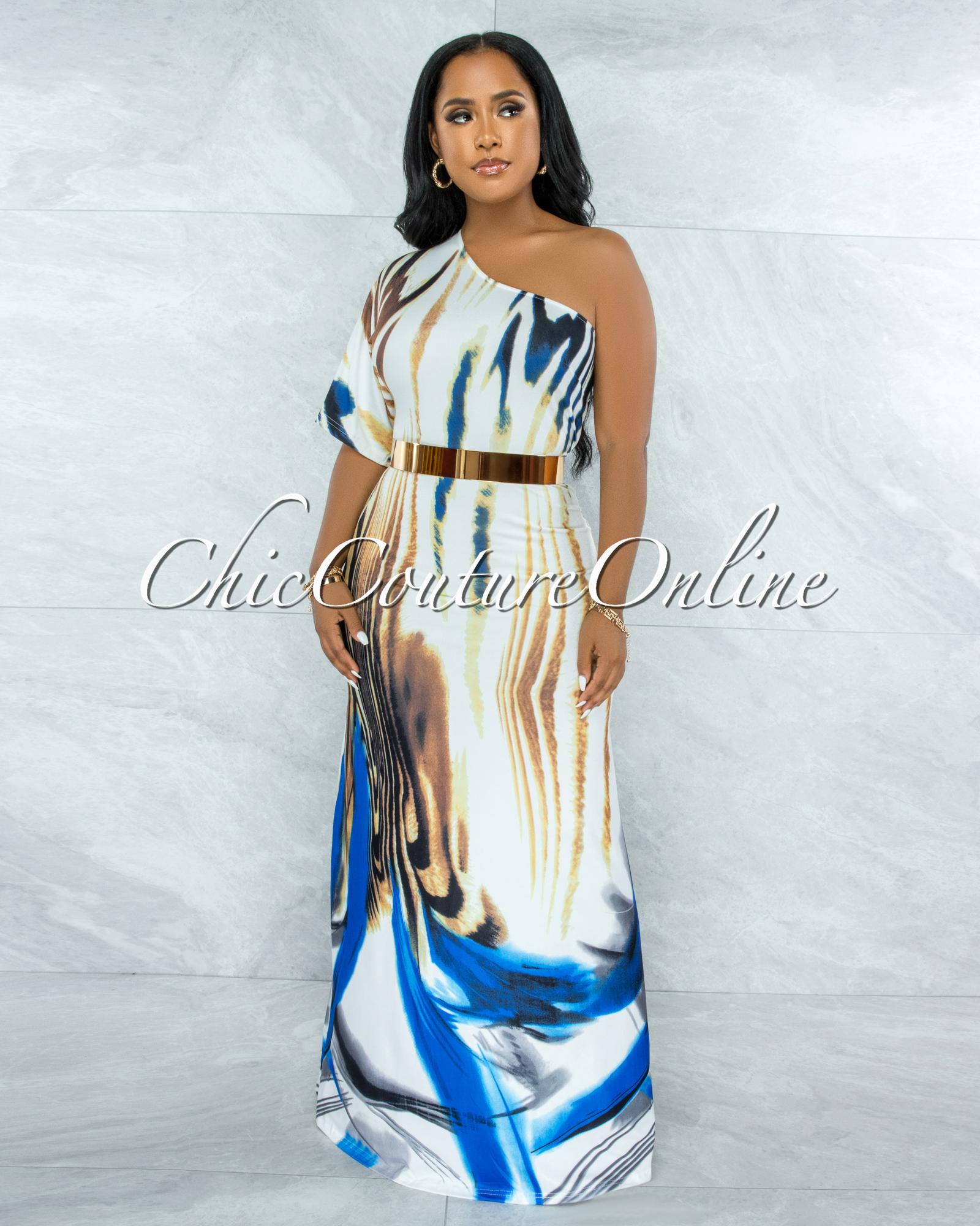 Jedida White Blue Brown Print Single Shoulder Maxi Dress