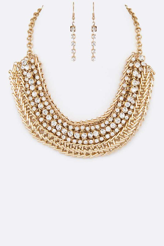 Ajay Gold Crystal Collar Statement Necklace Set Necklace