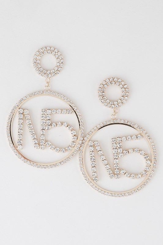 No5 Gold Pavé Dangle Earrings