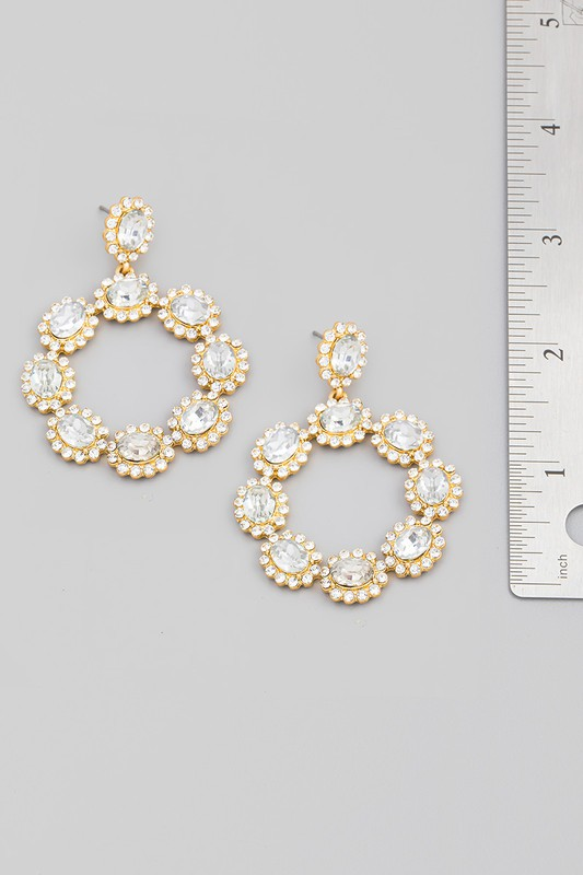 Sunil Multi Colored Crystal Rhinestone Circle Drop Earrings