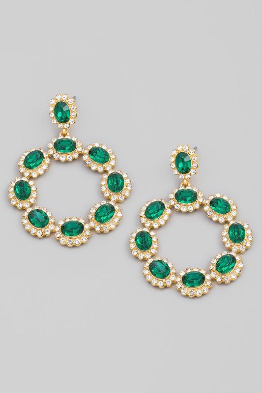 Sunil Emerald Green Crystal Rhinestone Circle Drop Earrings
