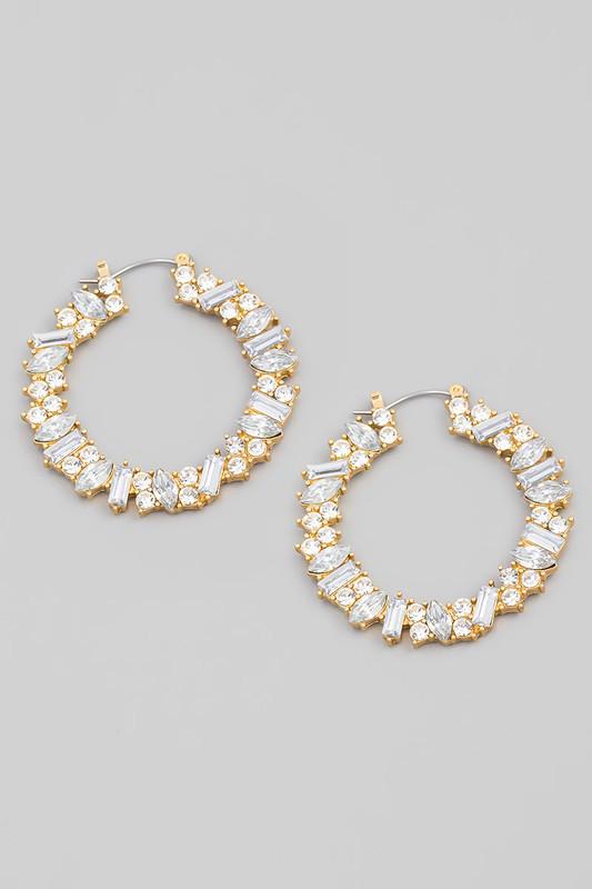 Sanika Gold Crystal Jeweled Hoop Earrings
