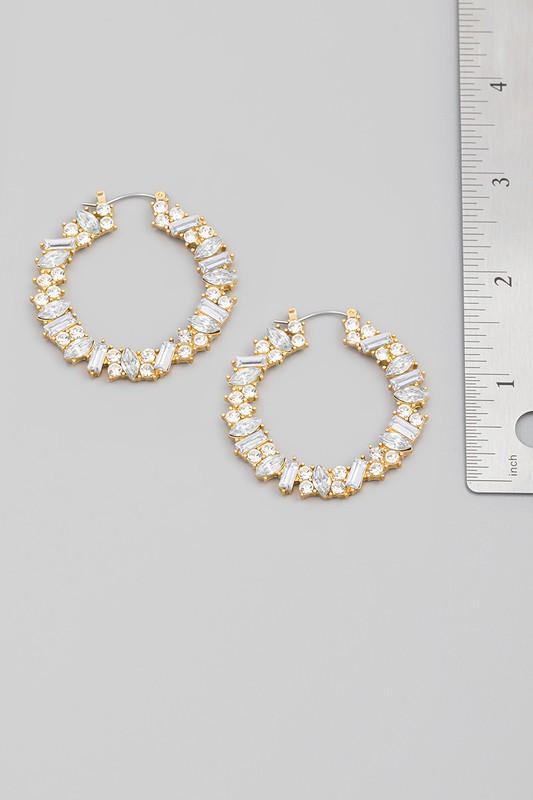 Sanika Gold Multi Colored Jeweled Hoop Earrings