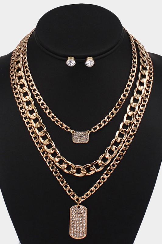 Luna Gold 3 Piece Rhinestone Rectangle Pendant Necklaces