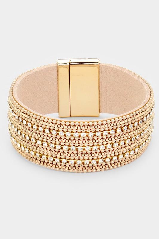 Kiran Crystal Pave Faux Leather Magnetic Bracelet