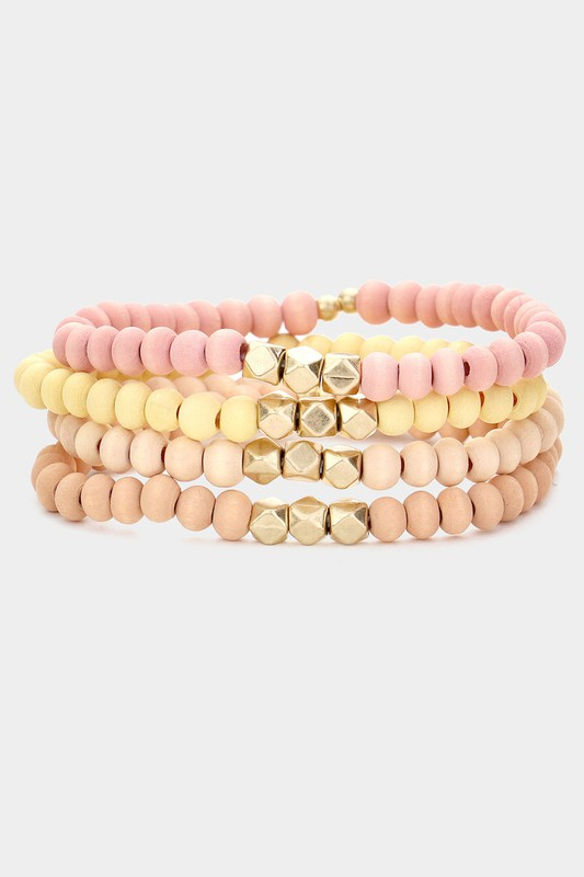 Orla Pink 4 Piece Wood Faceted Metal Bead Stretch Bracelets