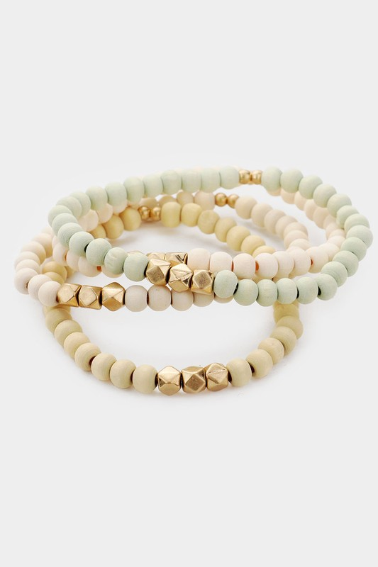 Orla Sage Neutral 4 Piece Wood Faceted Metal Bead Stretch Bracelets