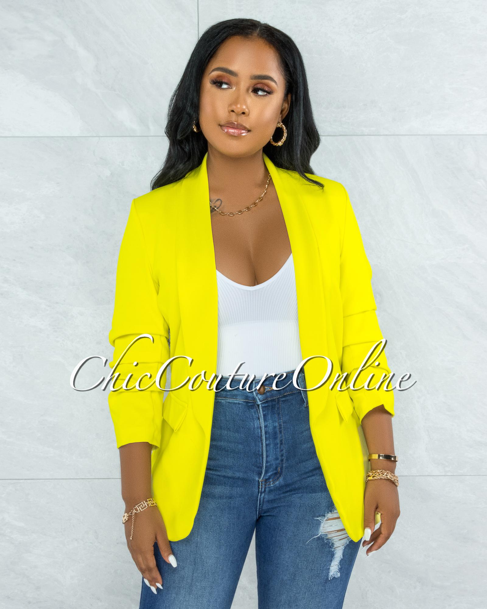 Stephanelle Lime Yellow Boyfriend Long Blazer
