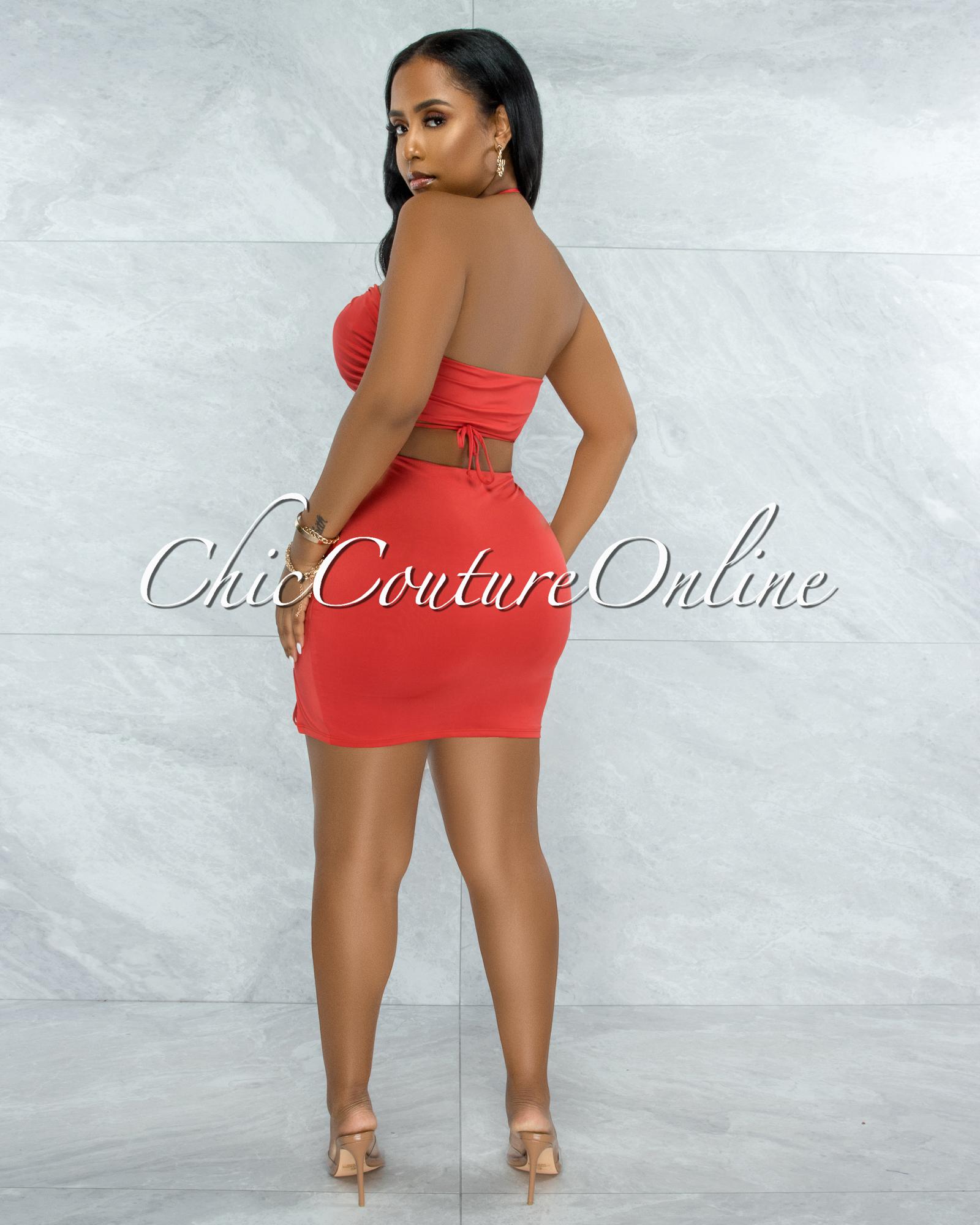 Warner Orange Self-Tie Crop Top & Ruched Mini Skirt Set