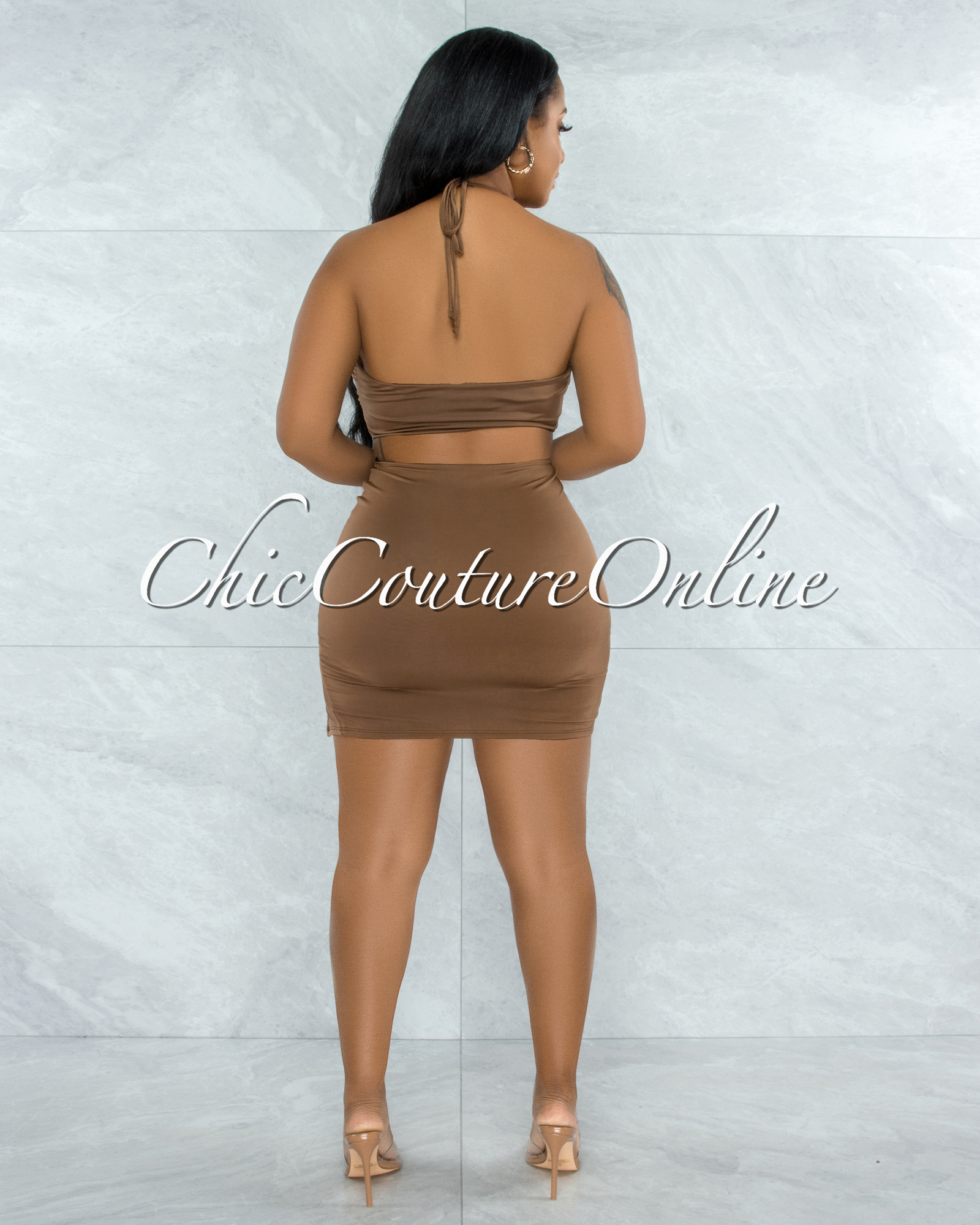 Warner Mocha Self-Tie Crop Top & Ruched Mini Skirt Set
