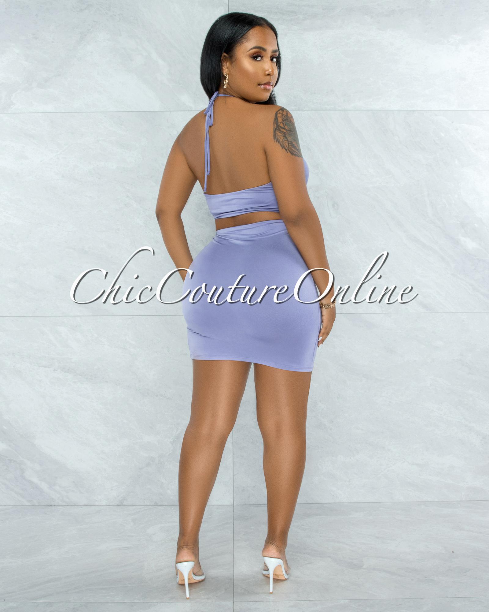 Warner Lavender Self-Tie Crop Top & Ruched Mini Skirt Set