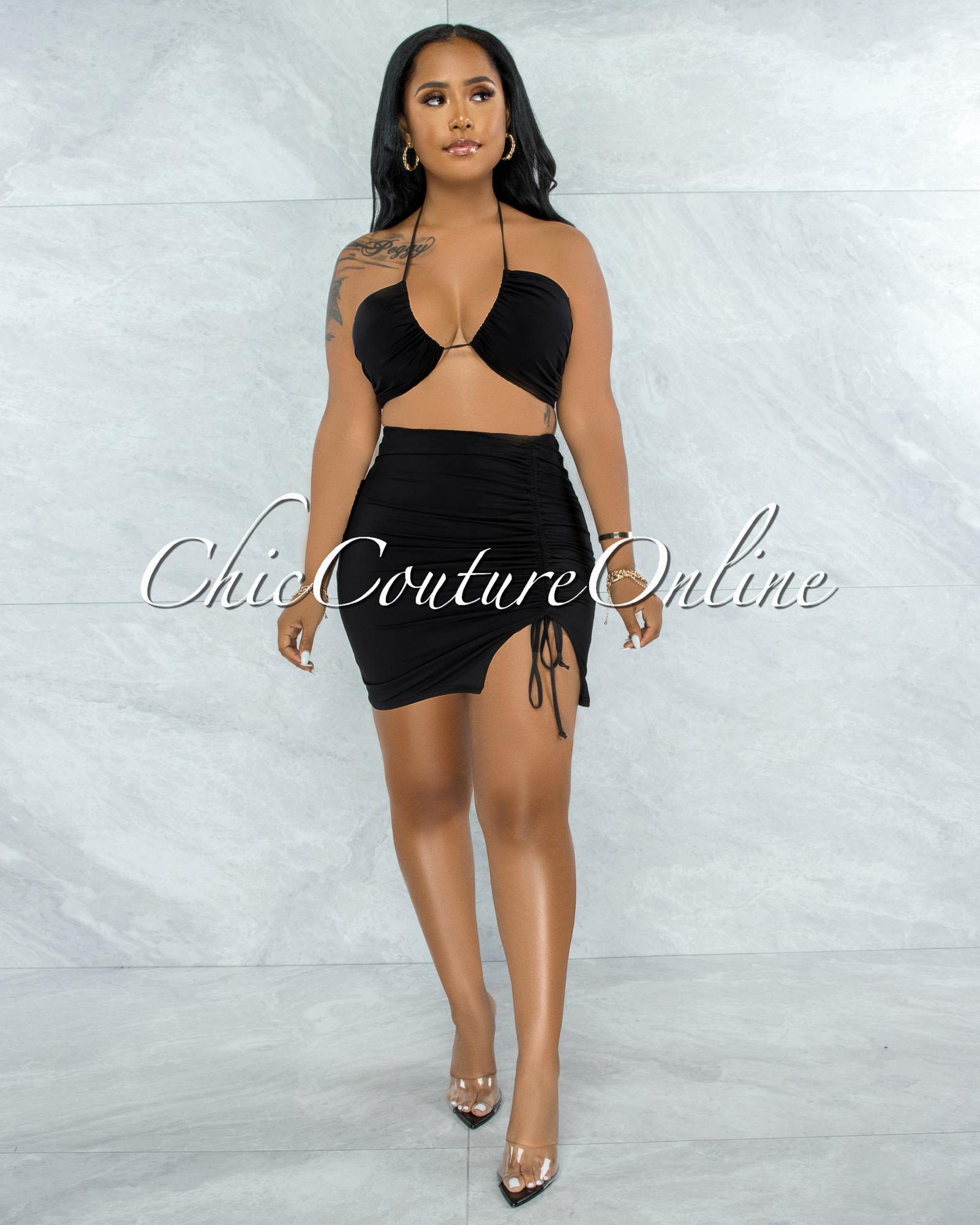 Warner Black Self-Tie Crop Top & Ruched Mini Skirt Set
