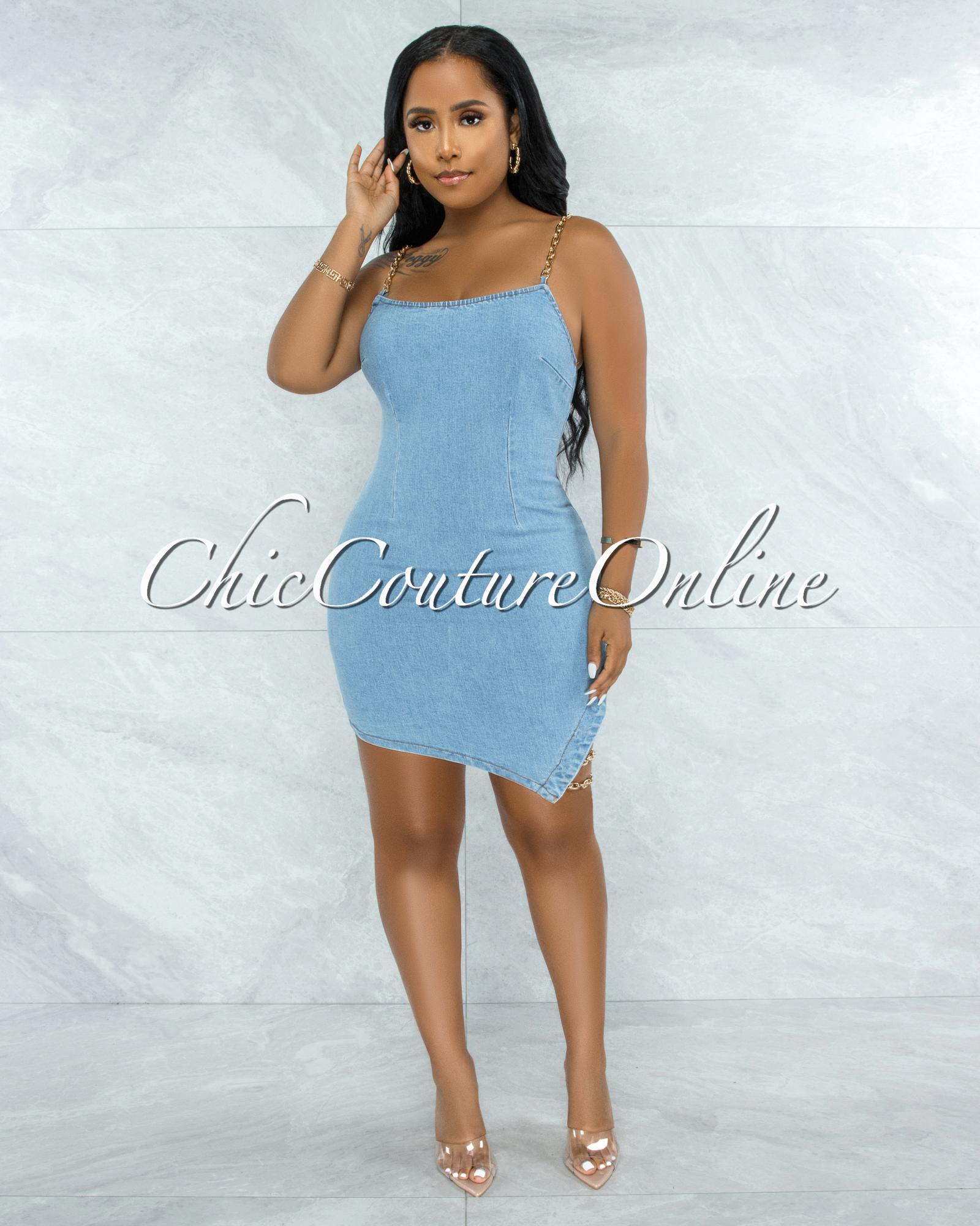 Sharice Light Blue Denim Gold Link Lace-Up Side Dress